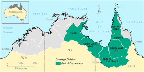 Map showing the Gulf of Carpentaria Drainage Division in the Top End