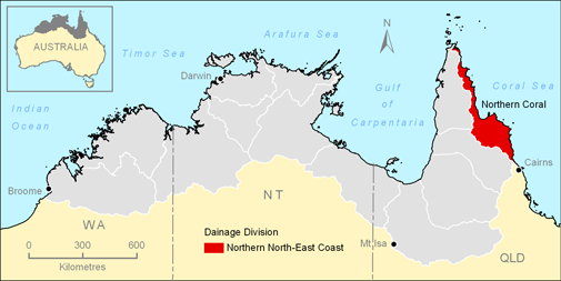 Map showing the Northern North-East Coast Drainage Division in the Top End of Australia