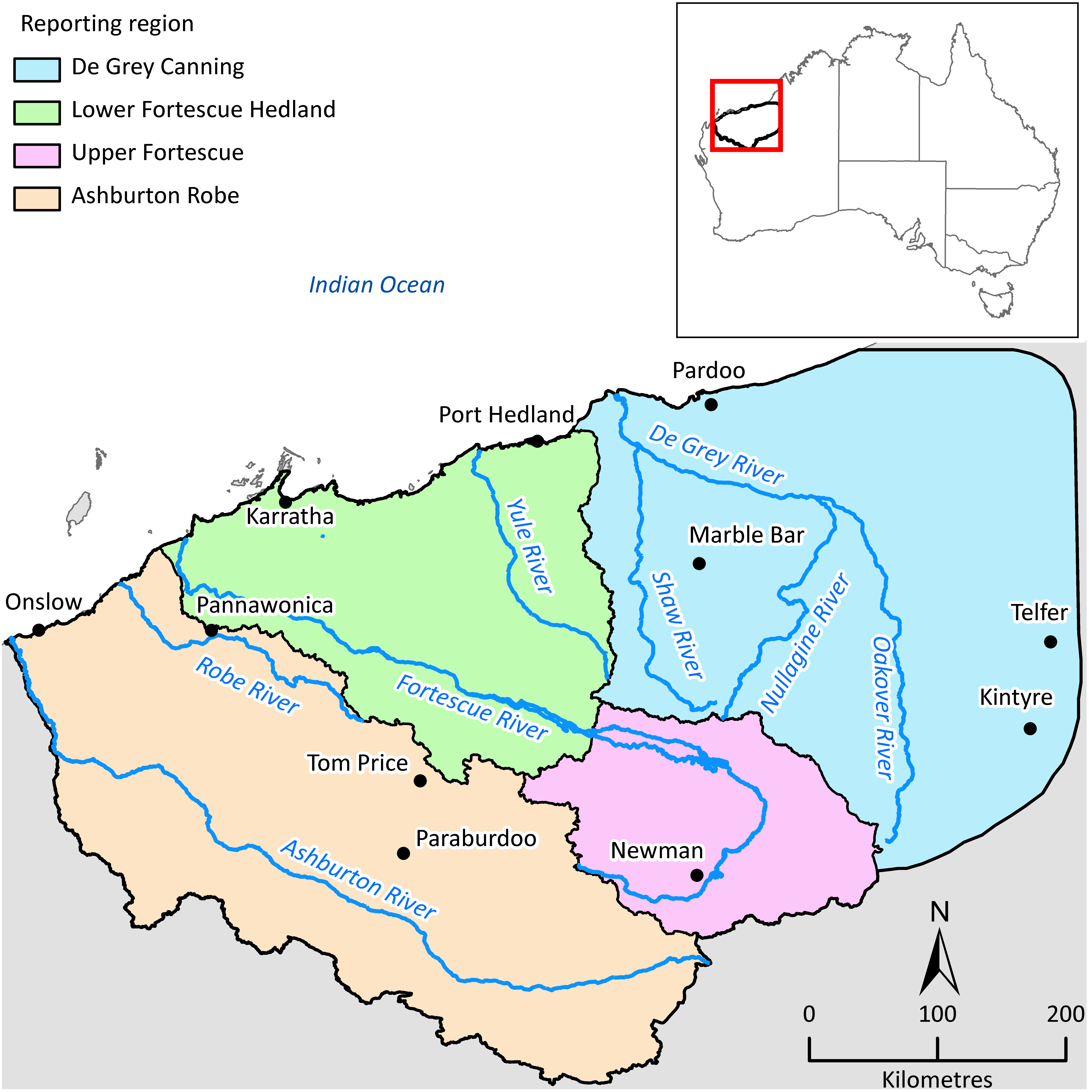 A map showing a highlighted area in north western Australia, which is divided into four sections called Ashburton Robe, De Grey Canning, Lower Fortescue and Upper Fortescue. The area's major rivers and towns are indicated on the map.