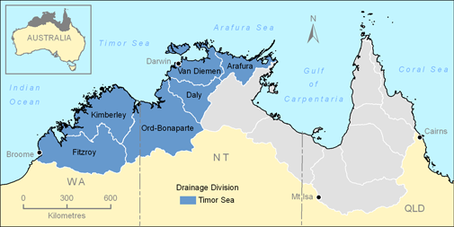 Map showing the Timor Sea Drainage Division in the Top End