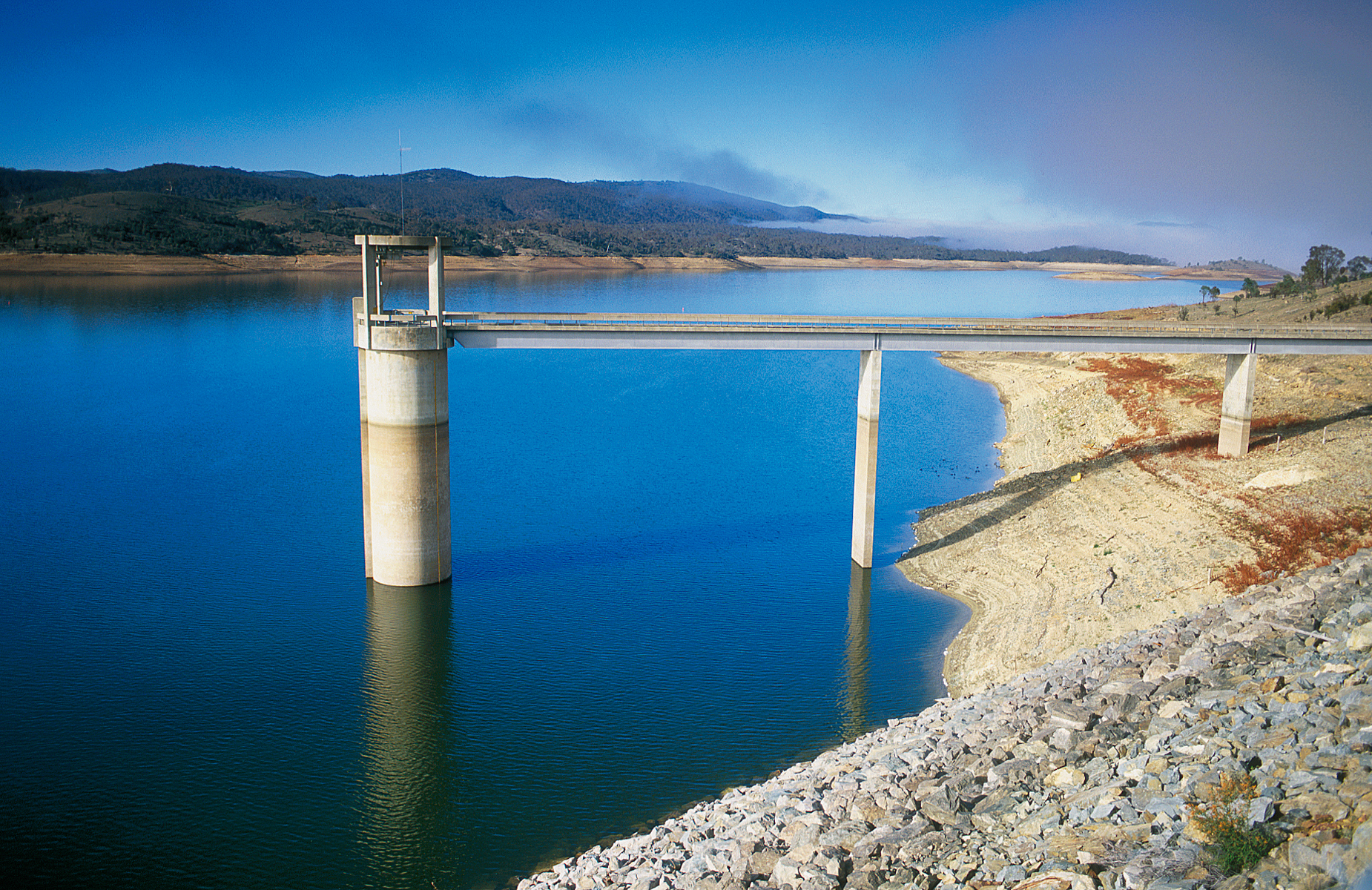 Googon Reservoir with water infrastructure bridge crossing to the middle