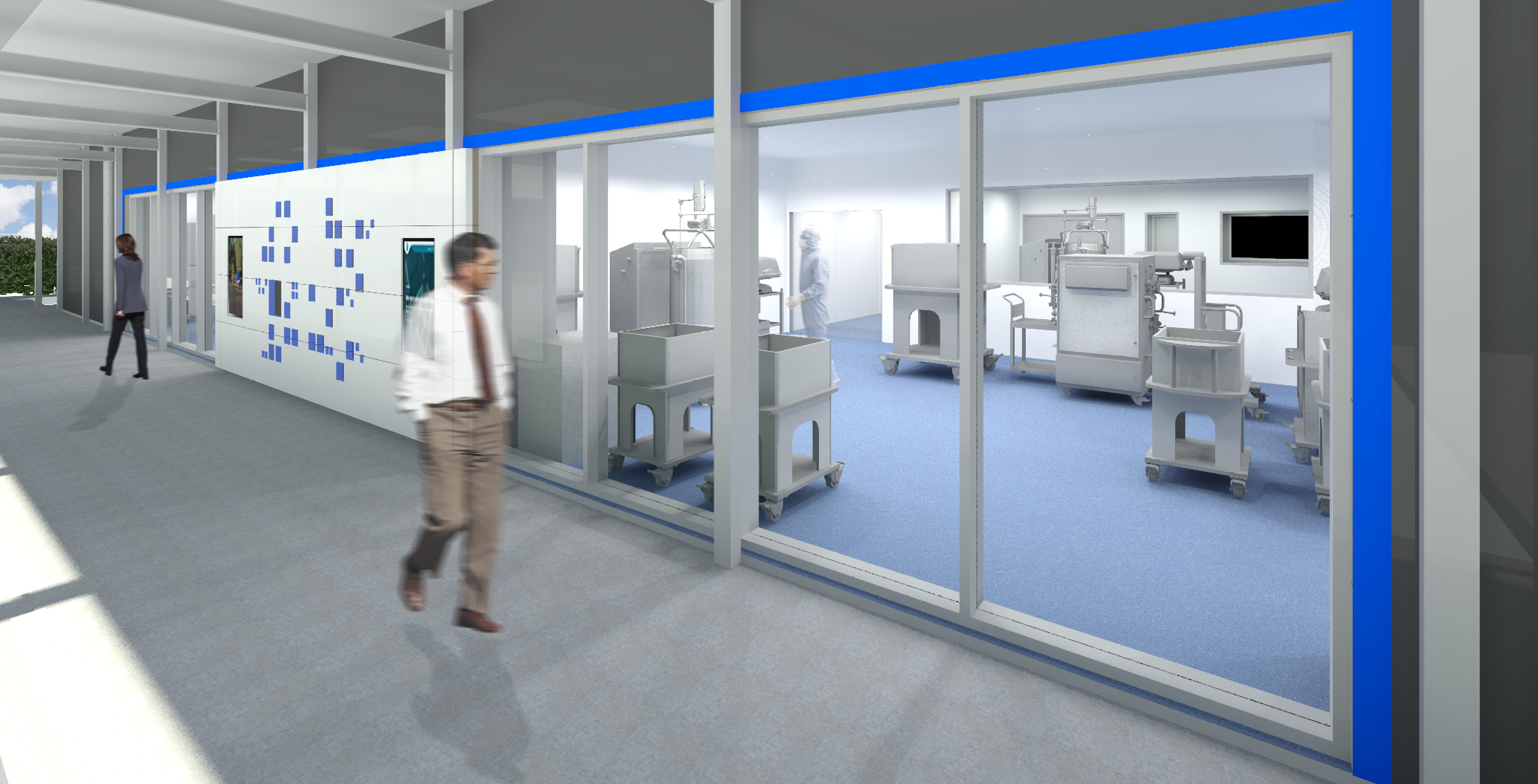 artist's impression of science laboratory, man walking in corridor alongside floor to ceiling windows with lab equipment on other side