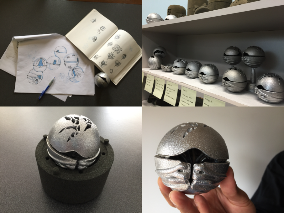 A collage of four pictures. Top left is the sketchings of the CSIRO Ball. Top right is a shelf full of CSIRO Ball prototypes, Bottom left is the CSIRO Ball sitting on top of a sand mould casting, and bottom right is the finished product of the CSIRO Ball.