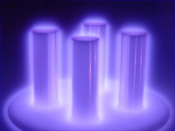 glowing purple verticle cylinders - covered in a plasma coating.