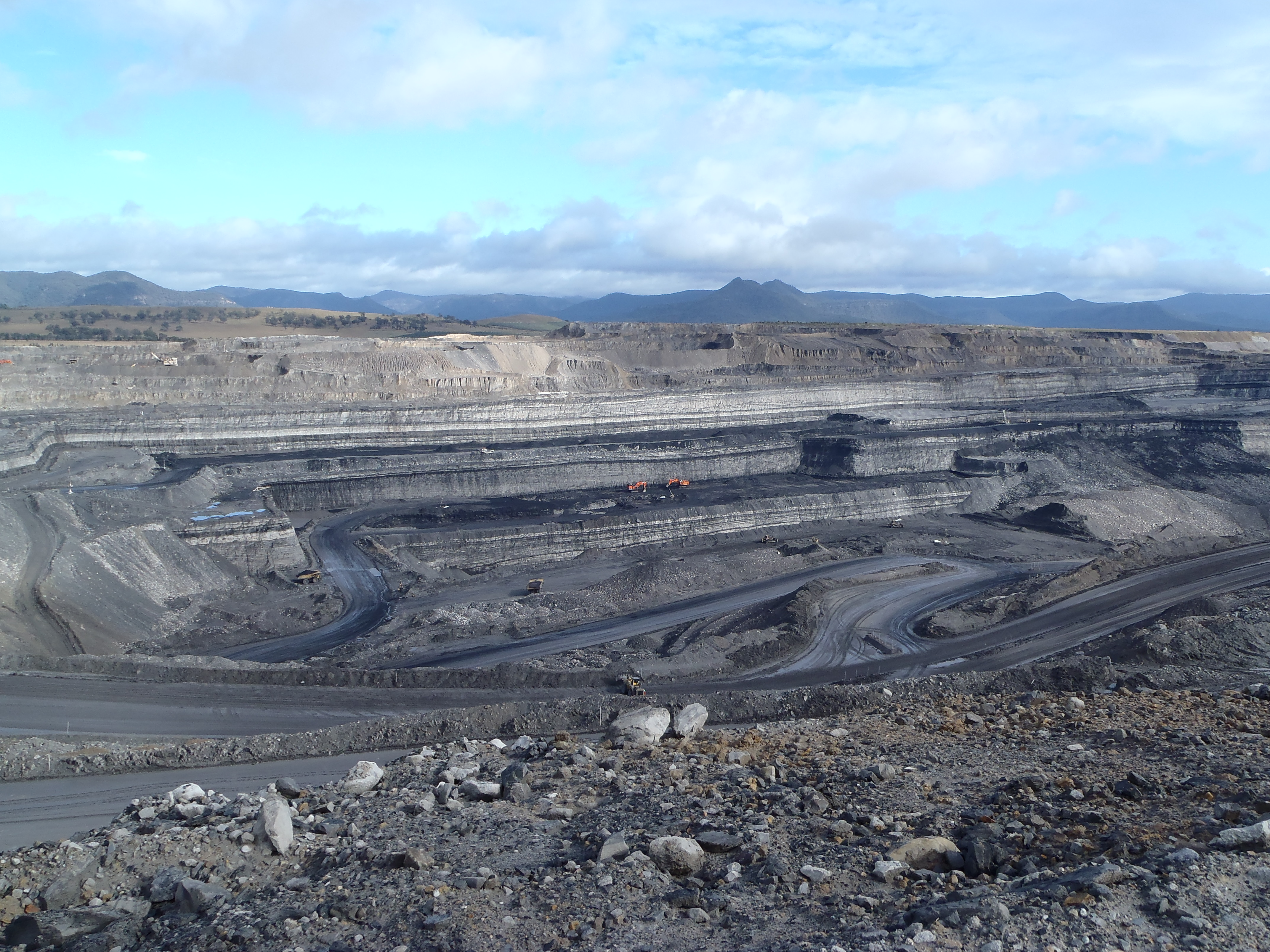 View of the open cut coal mine at South Bulga.