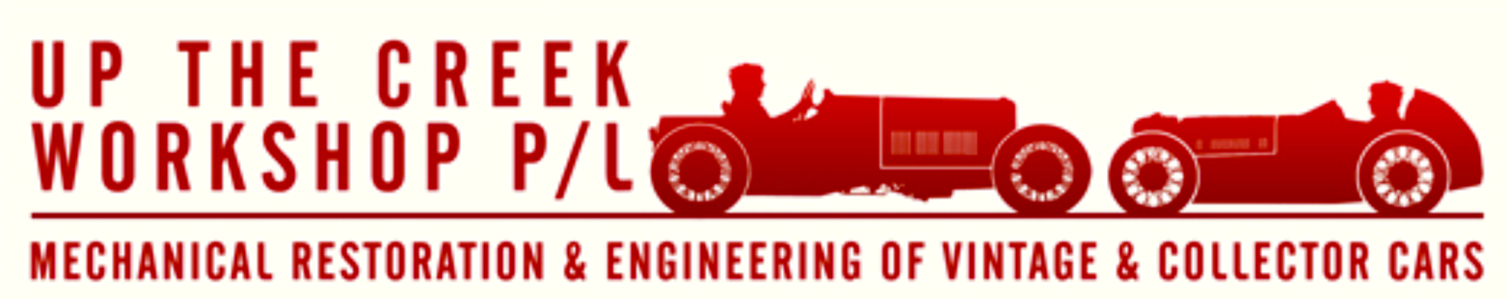 "Logo of ""Up the Creek Workshop P/L"" - Mechanical Restoration and Engineering of Vintage and Collector Cars."