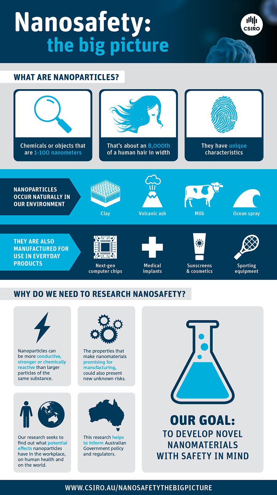 Nanosafety: the big picture, info graphic with icons and text