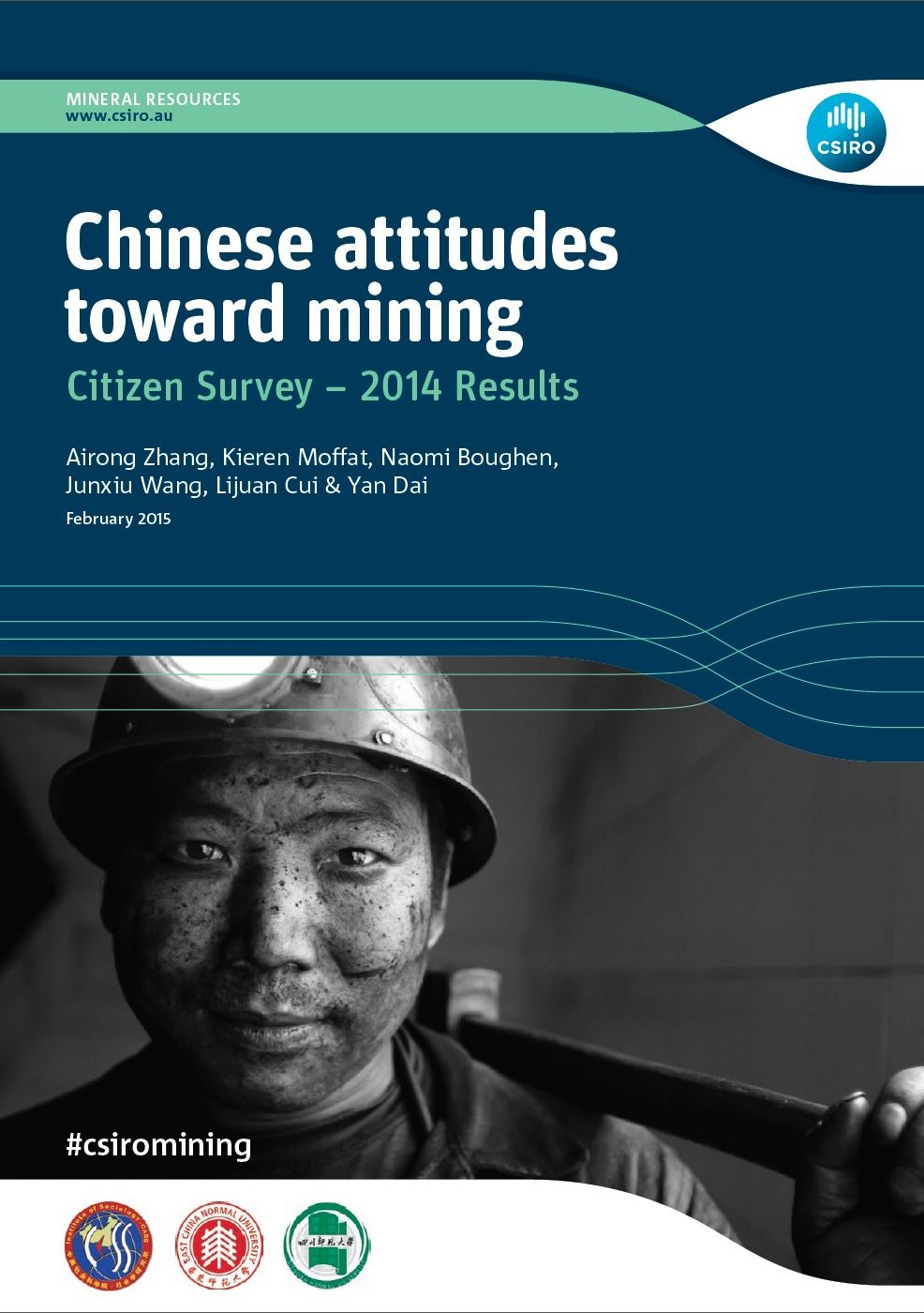 Report cover of Chinese attitudes towards mining - a citizen survey, showing a closeup of the face of a coal-dust covered Chinese mine worker in a hard hat