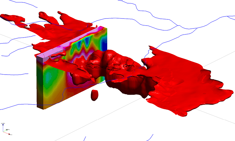Coloured space-fill 3D model of conductivity pattern over a section of land