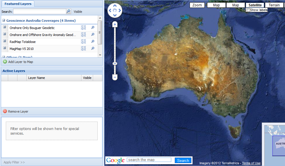 Data selection screen from Virtual Geophysics Laboratory showing a list of available data sets and a map of Australia.