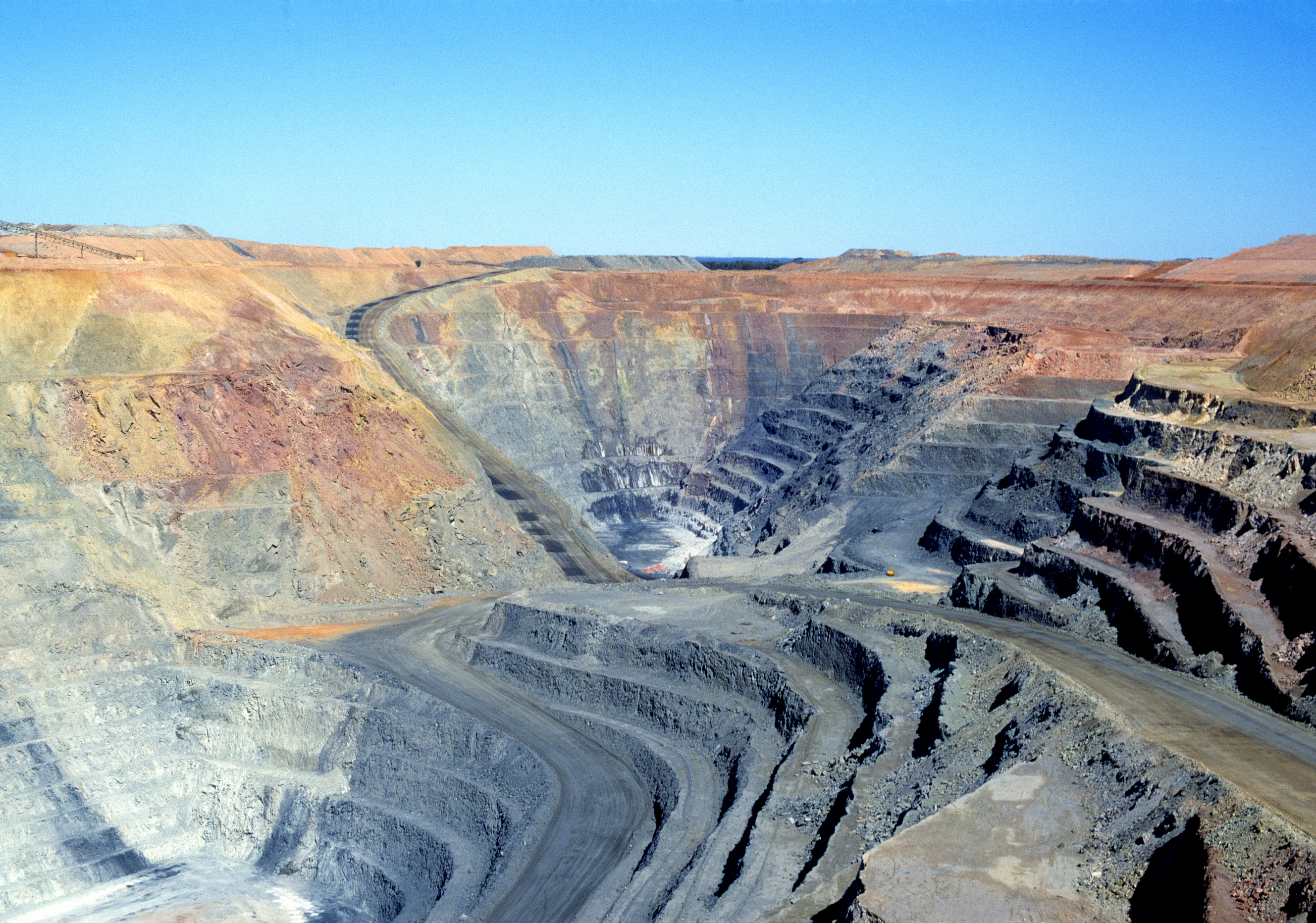 View into an open pit mine.