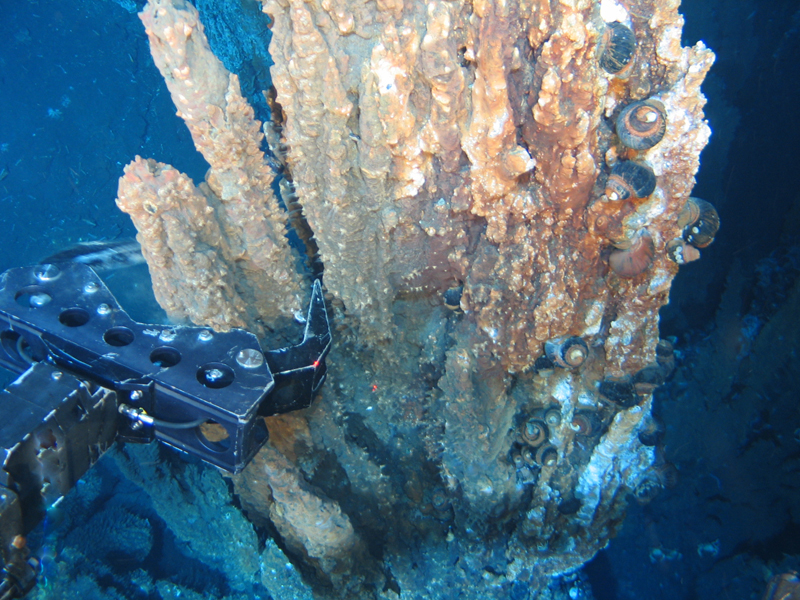 Mechanical claw reaching for a mineral deposit on the seafloor.