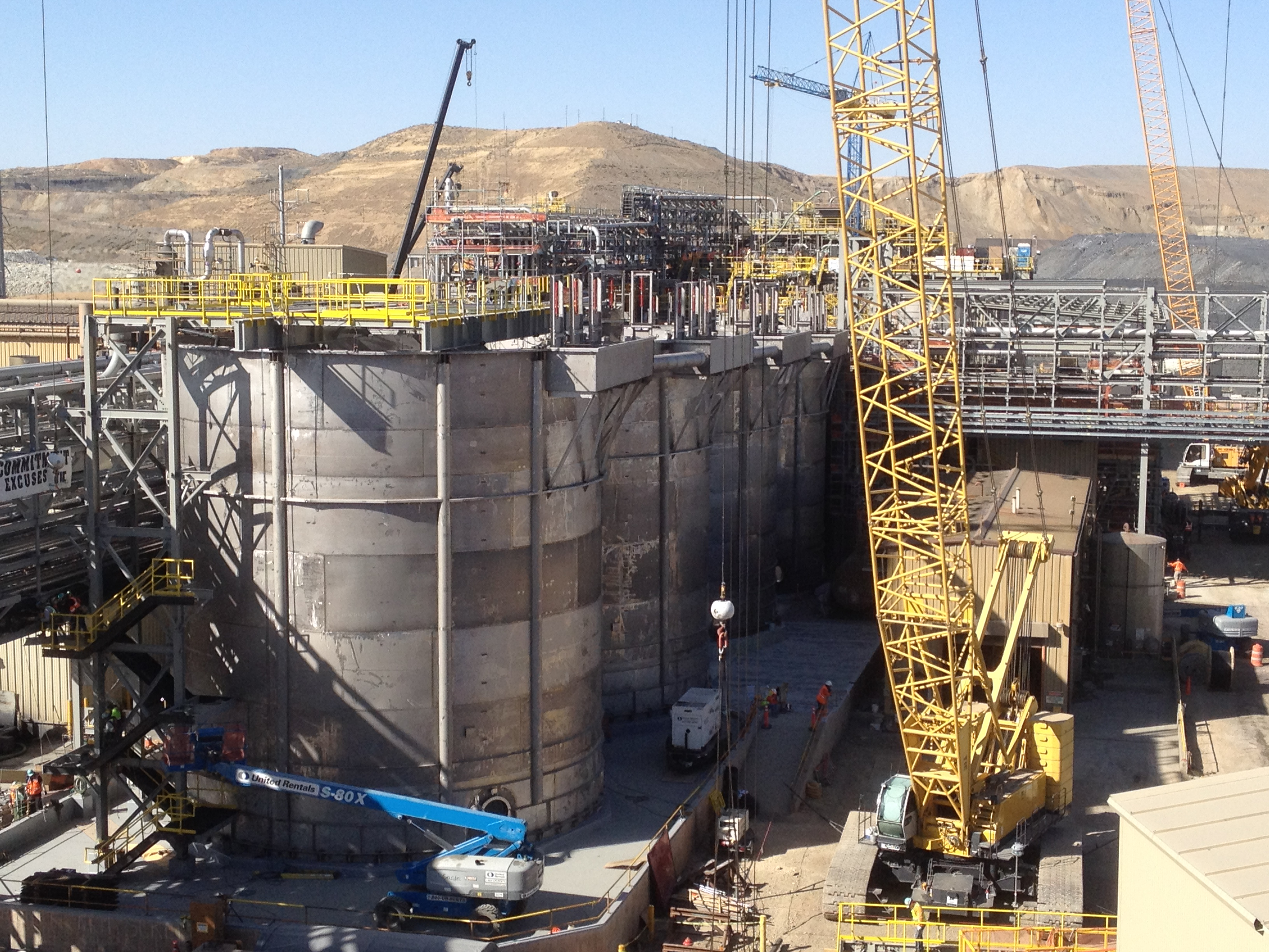 The Barrick plant including giant stainless steel tanks to run the cyanide-free process.