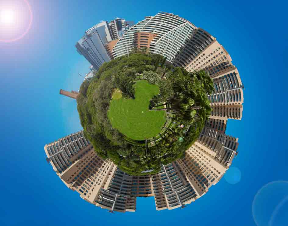 Fisheye perspective of a high-rise cityscape shown in a circular form