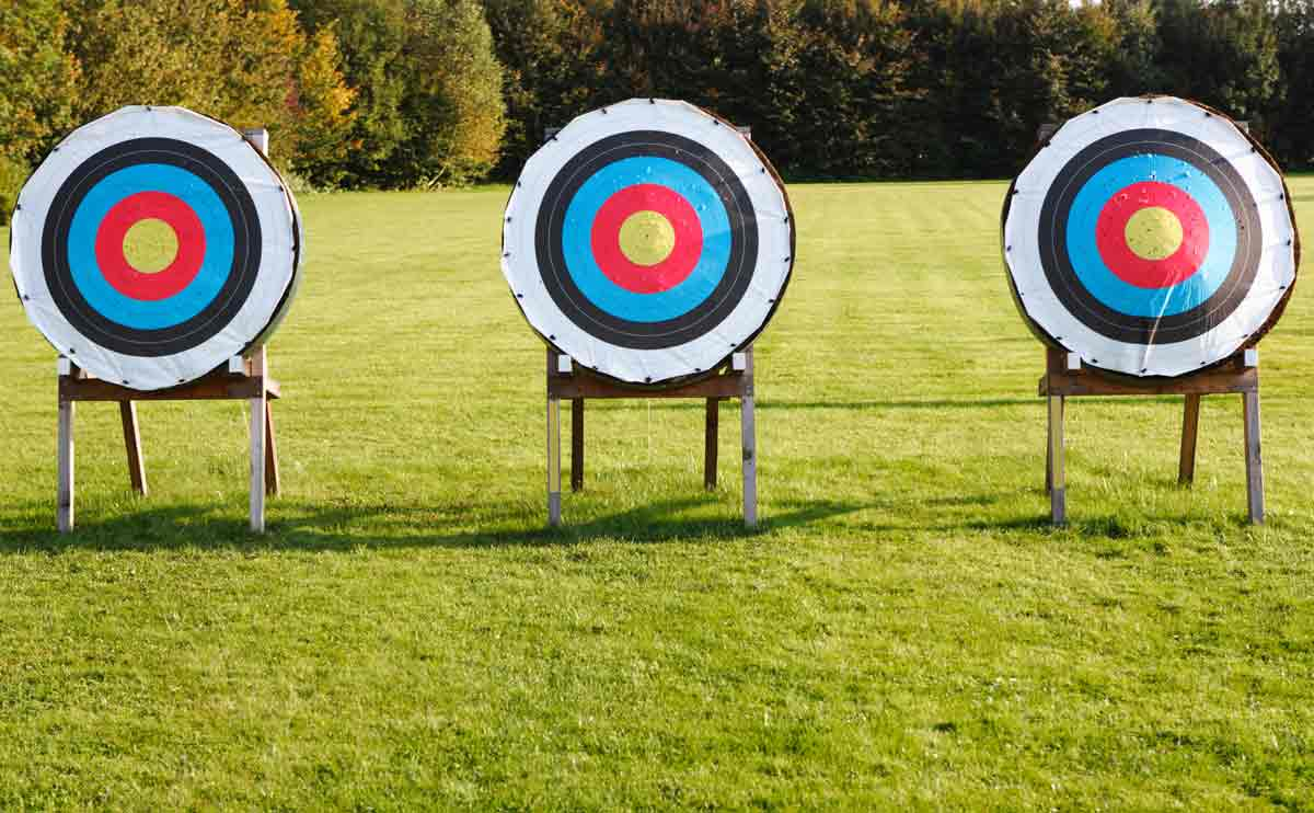 Three archery targets in a green field