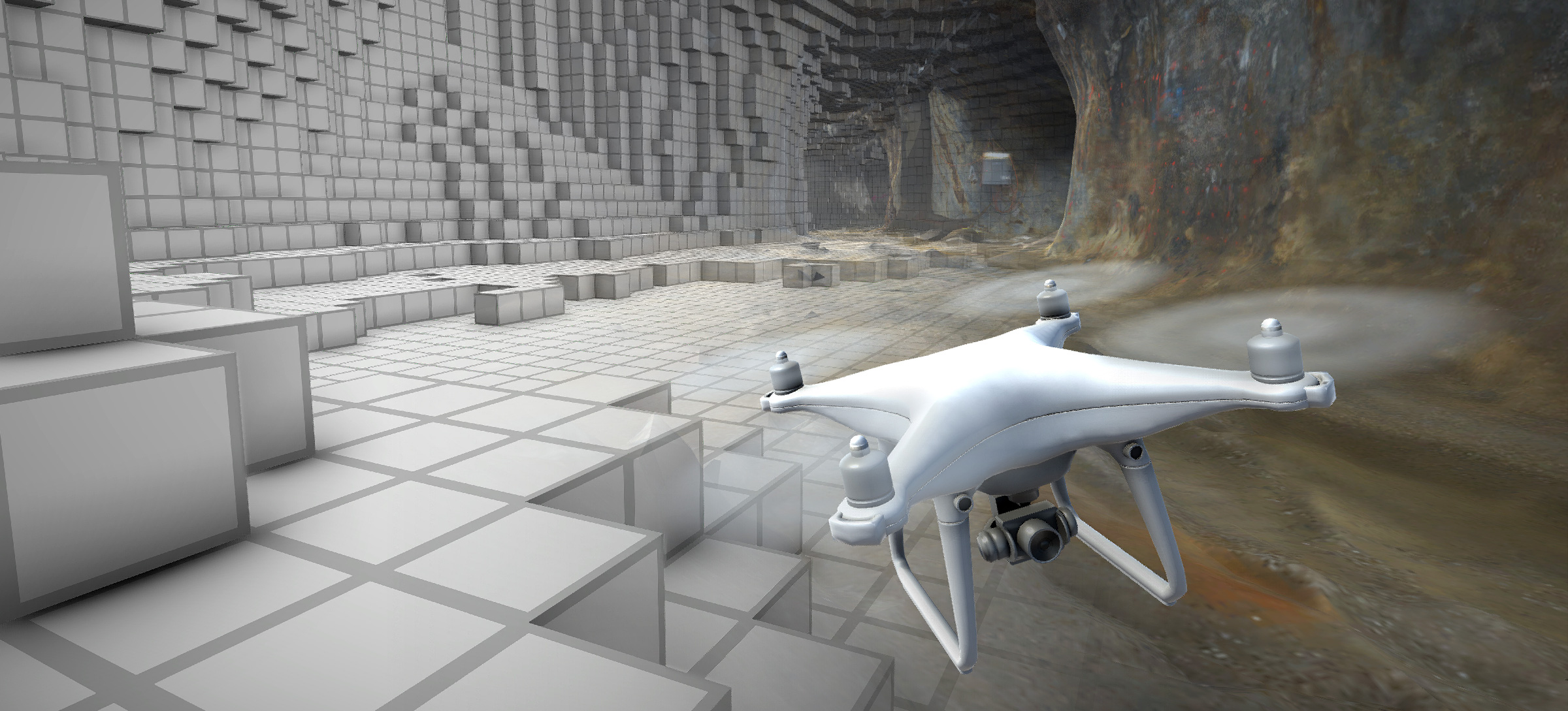 Illustrtaion showing a flying drone with camera digitally mapping cave