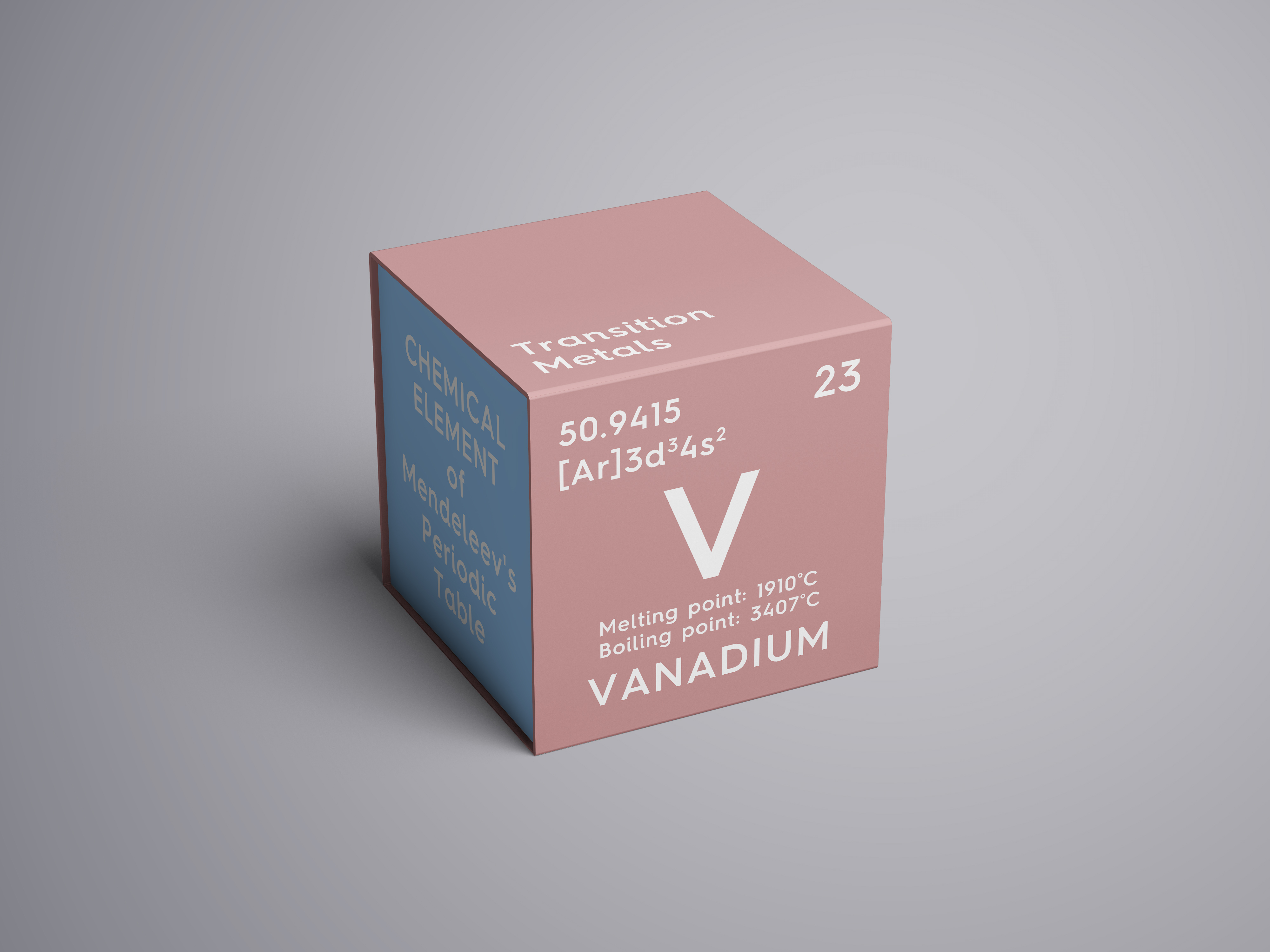 Pink cube with vanadium element information from the periodic table.