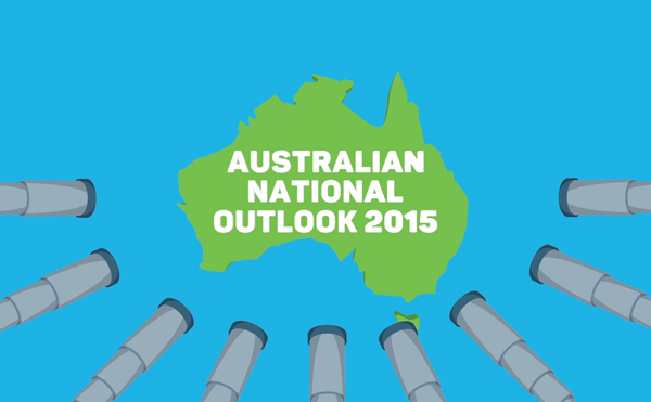 "Text ""Australian National Outlook 2015"" over the top of map of Australia"