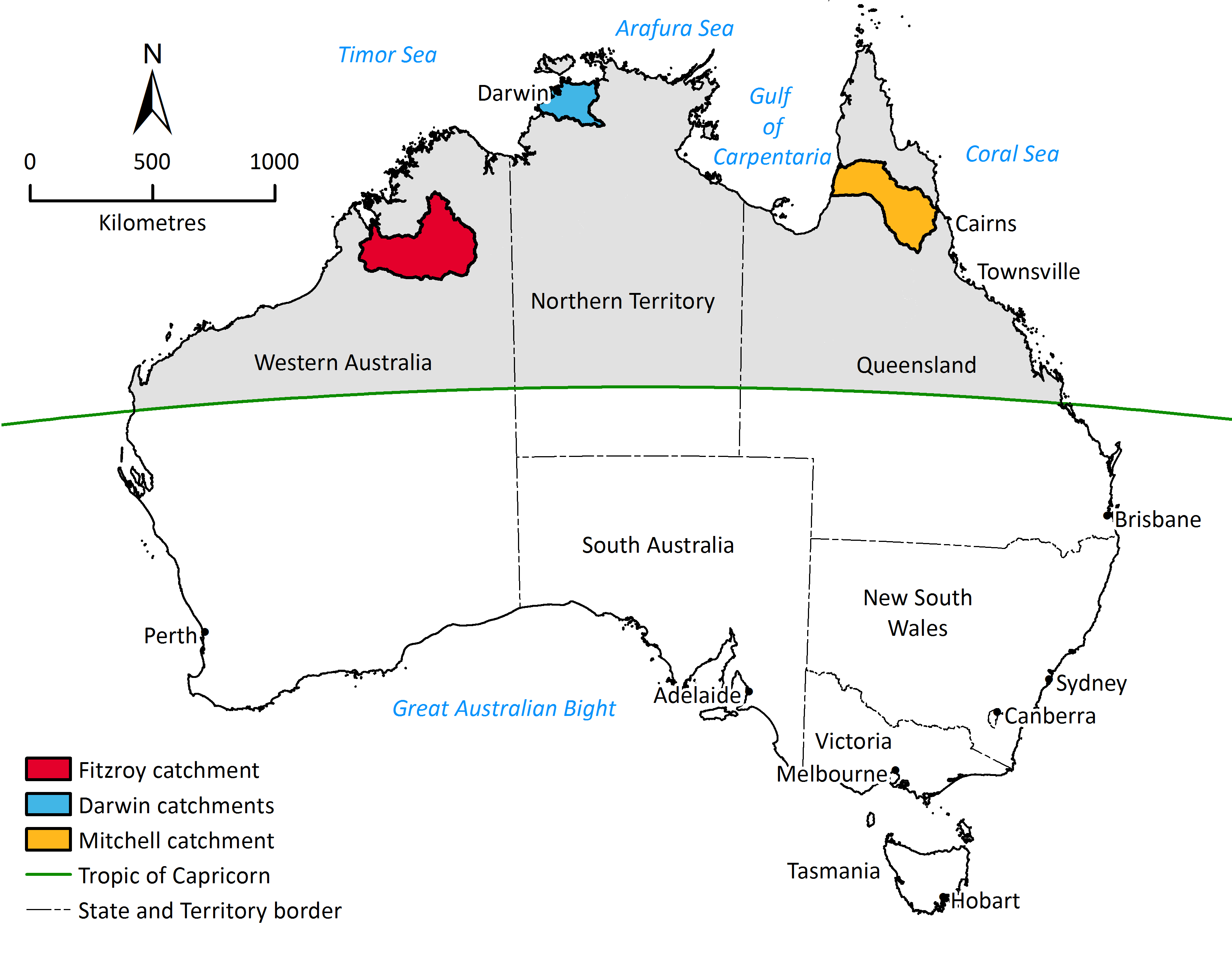 Map of Australia highlighting northern Australia, above the Tropic of Capricorn, and the three assessment areas