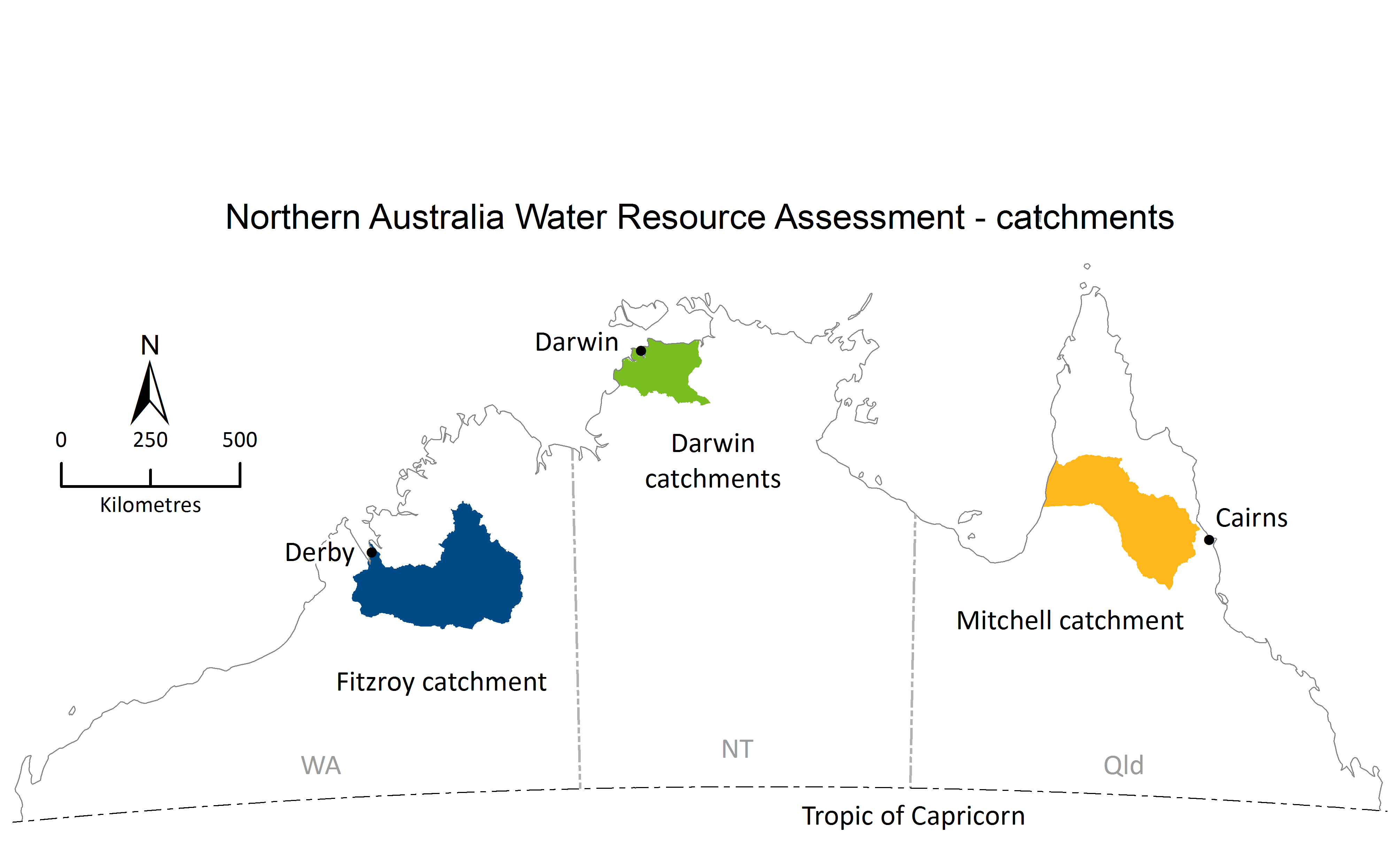 Northern Australia Water Resource Assessment catchments map displaying the Fitzroy, Darwin and Mitchel catchments.