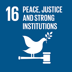 United Nations Sustainable Development Goal 16: Peace, Justice and Strong Institutions logo