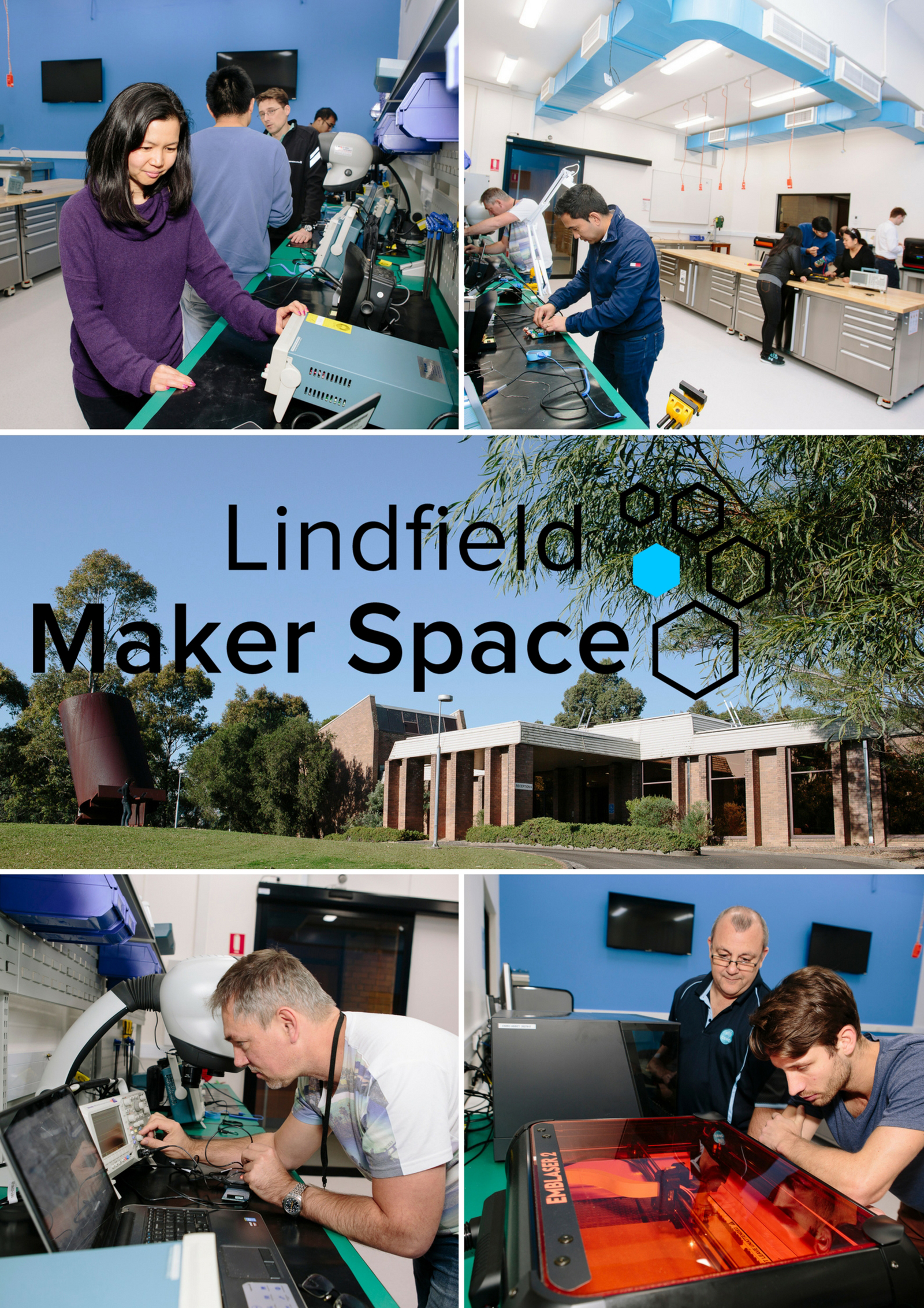 Lindfield Maker Space. Various images of people working in the facility.