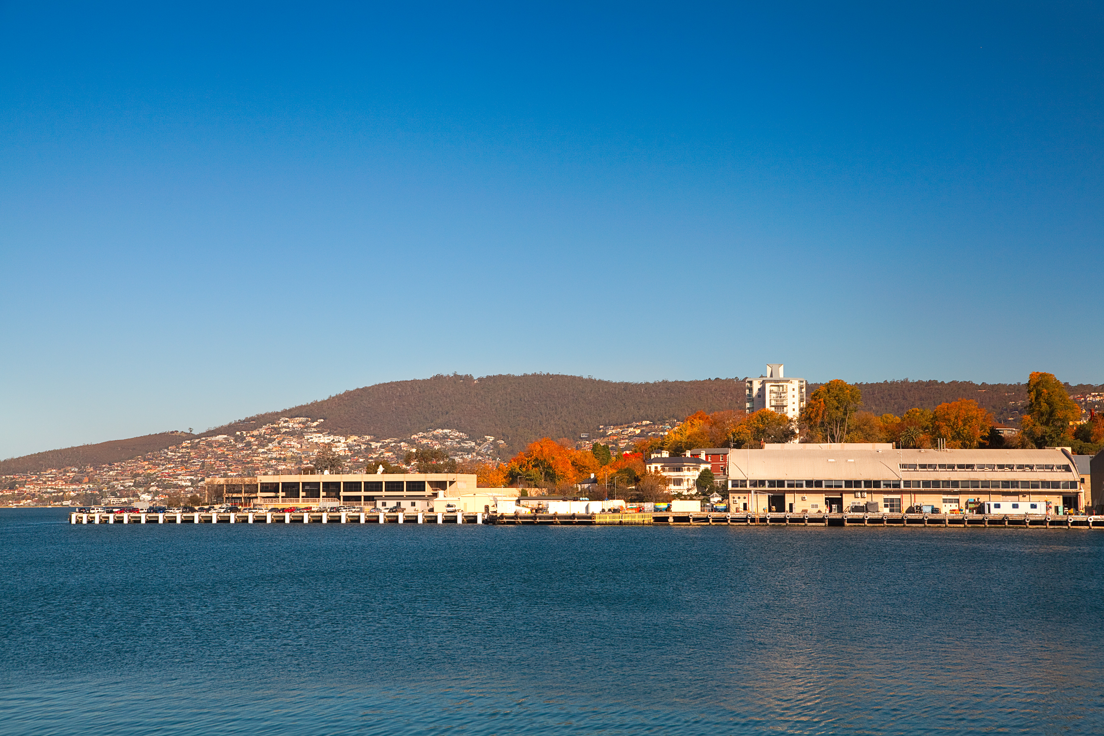 Our marine laboratories in Hobart on a sunny day with sea in foreground