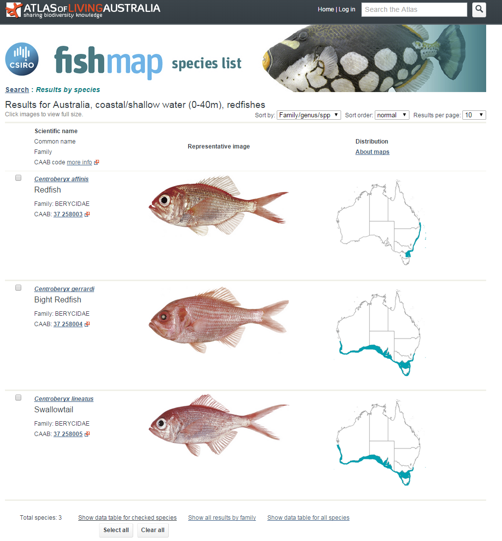 A screen-shot from the FishMap website. The species page contains CAAB codes, common and scientific names, images and maps for the Australian distributions.