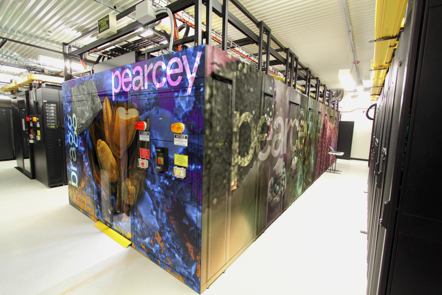 A large rectangular box containing the computer hardware, with the word pearcey on the end and side panels