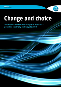 "Cover page of Future Grid Forum Report - ""Change and choice: The Future Grid Forum's analysis of Australia's potential electricity pathways to 2050"""