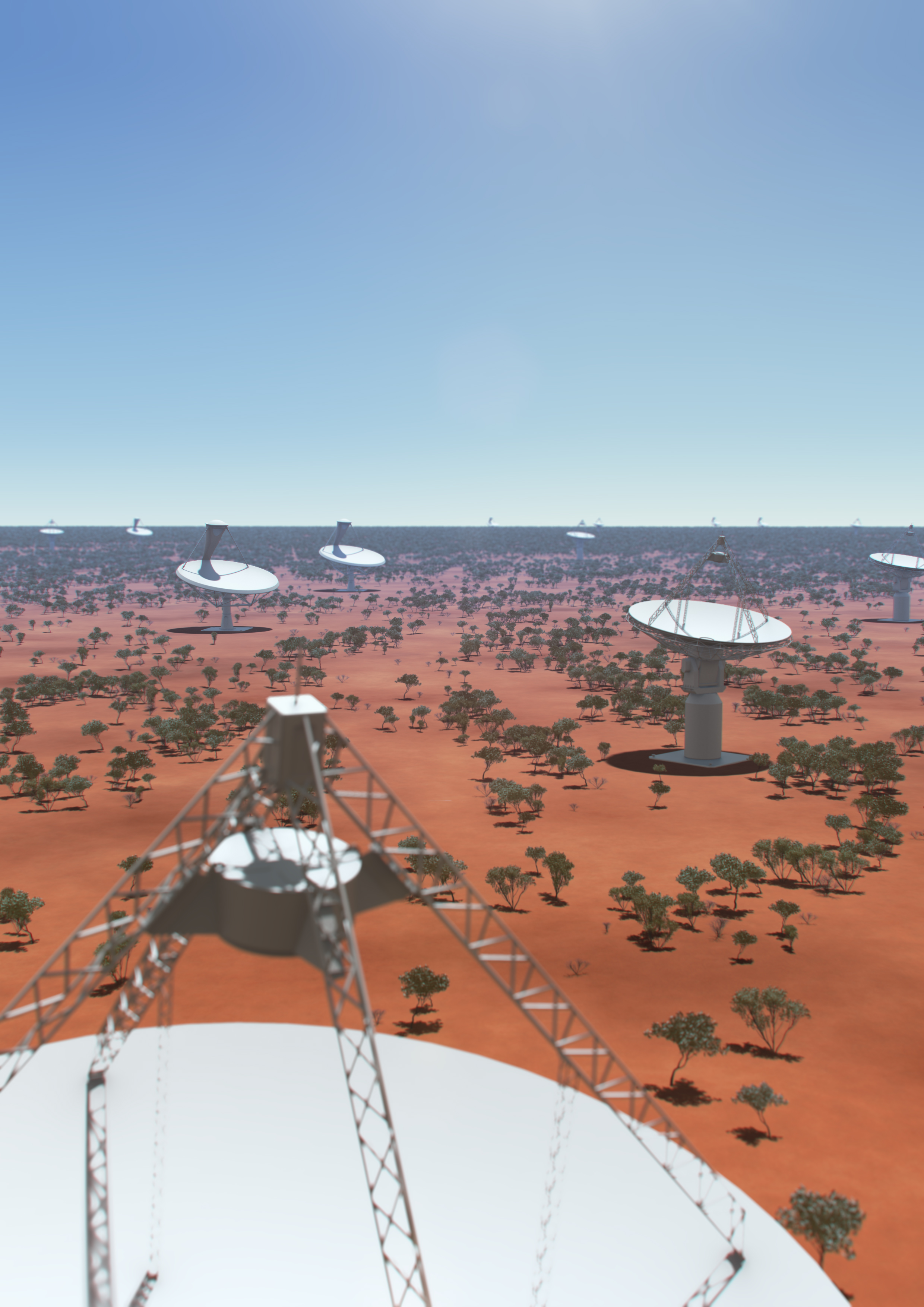 Artist's impression of dishes that will make up the SKA radio telescope at the Australian core site.
