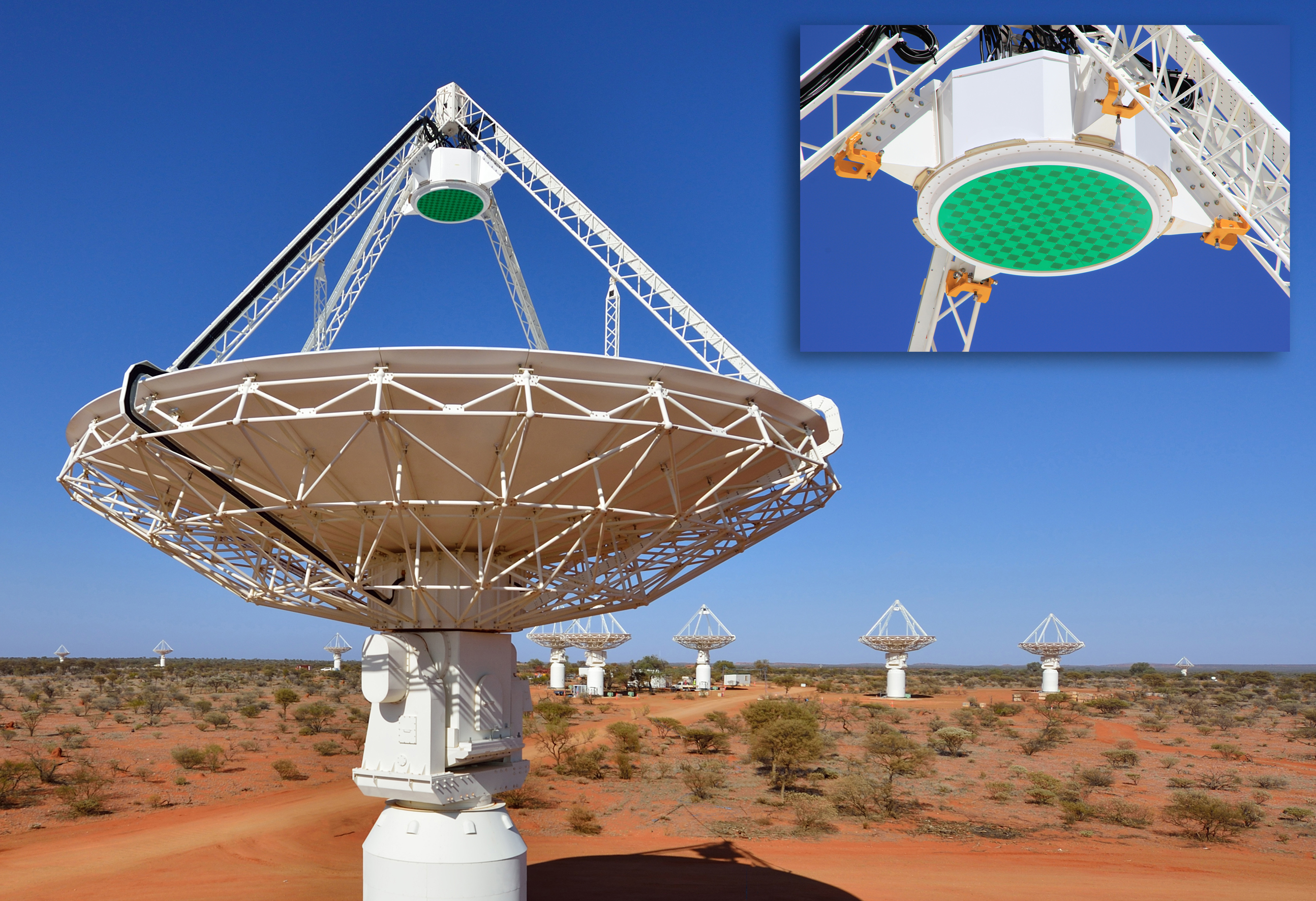 CSIRO's ASKAP radio telescope with its innovative phased array receiver technology.