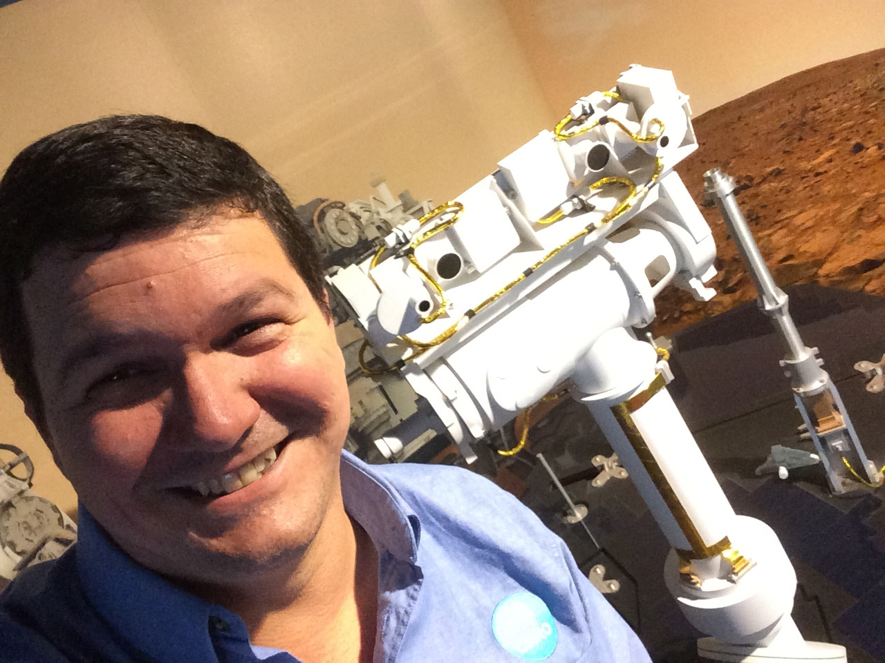 Me and my Rover. Paulo de Souza with a model of the Mars Rover, Opportunity.