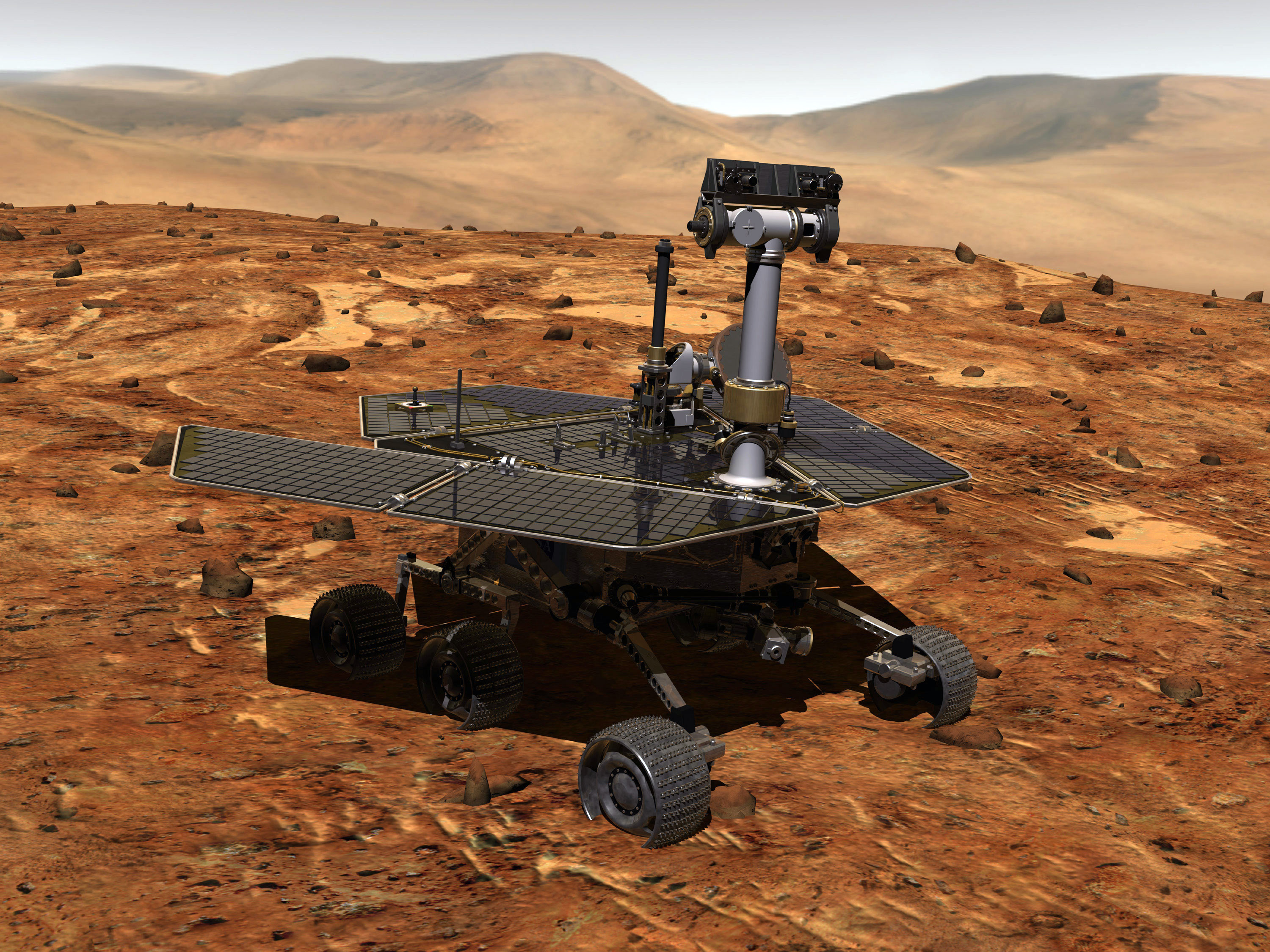 An artist's concept portrays a NASA Mars Exploration Rover (Opportunity) on the surface of Mars.