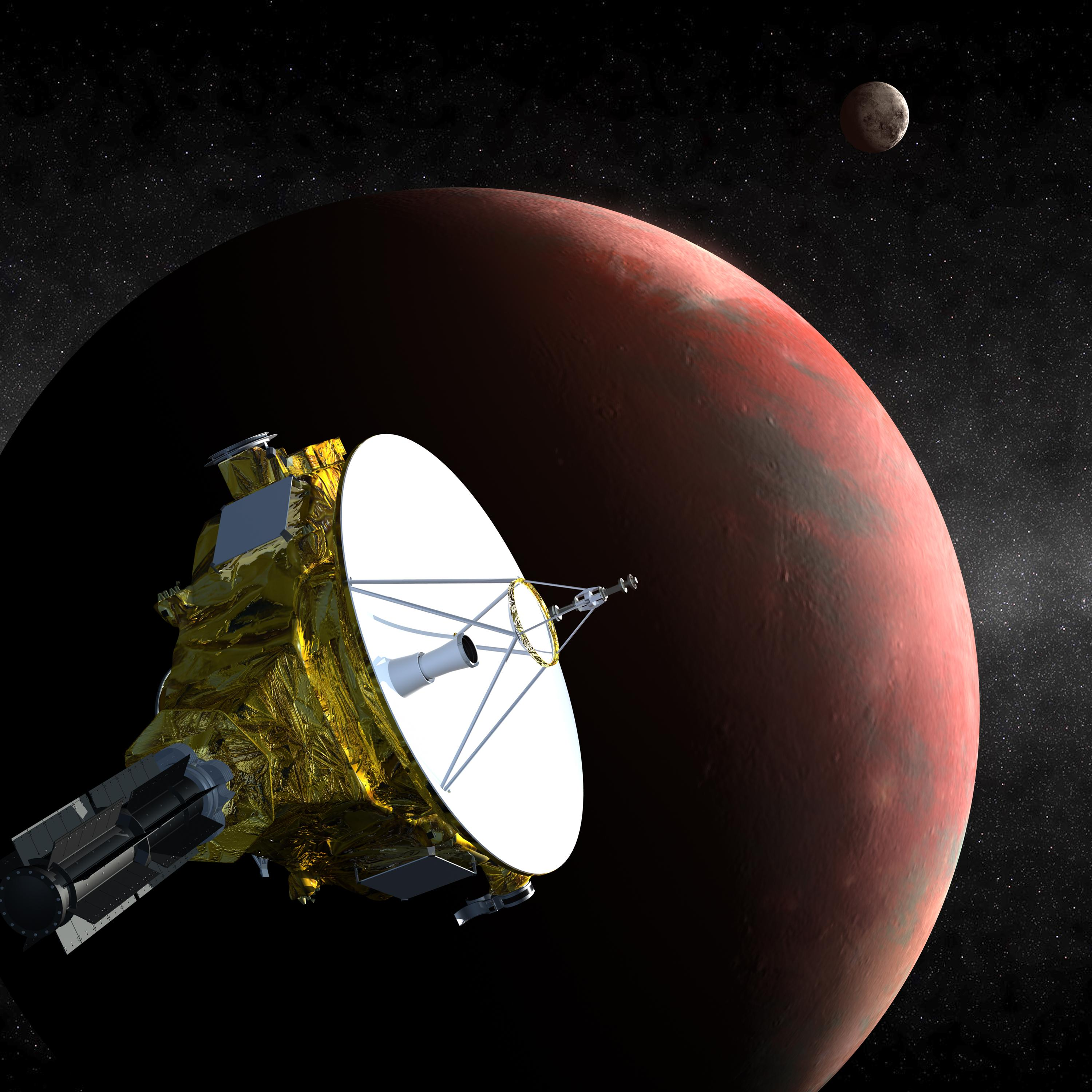 An artist's impression of the New Horizons spacecraft at Pluto in 2015.