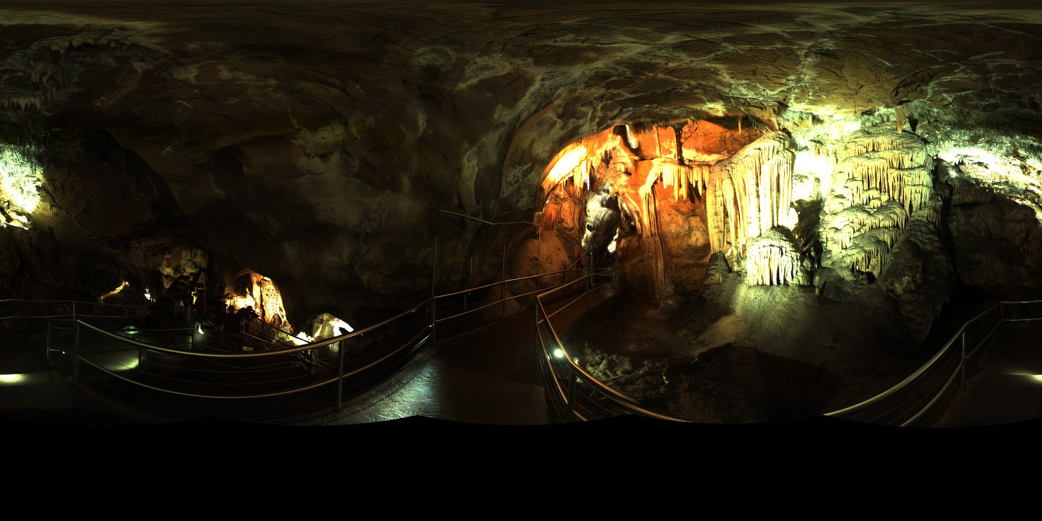 A panoramic image from within the Caves.