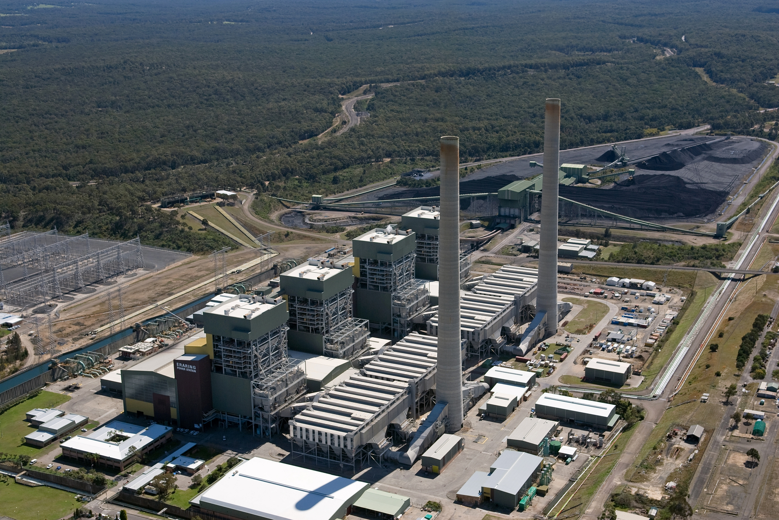Aerial photograph of Eraring coal-fired power station in Newcastle.