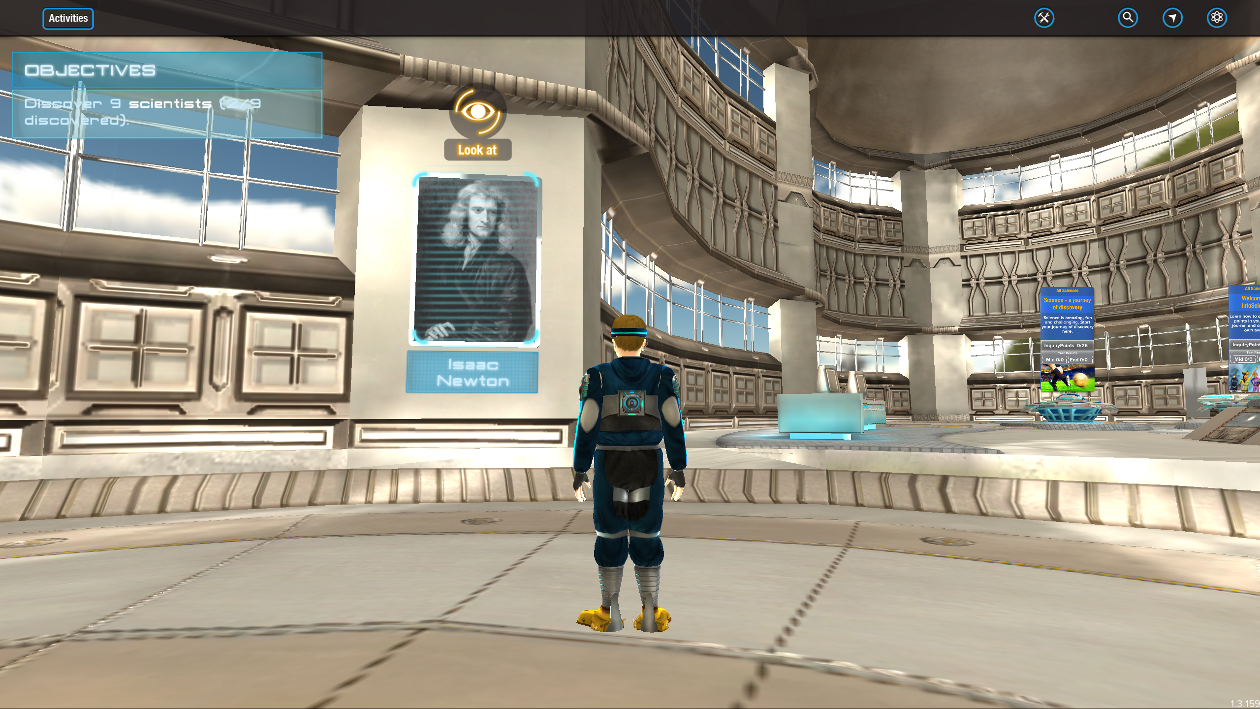 A student avatar in their virtual lab biodome.