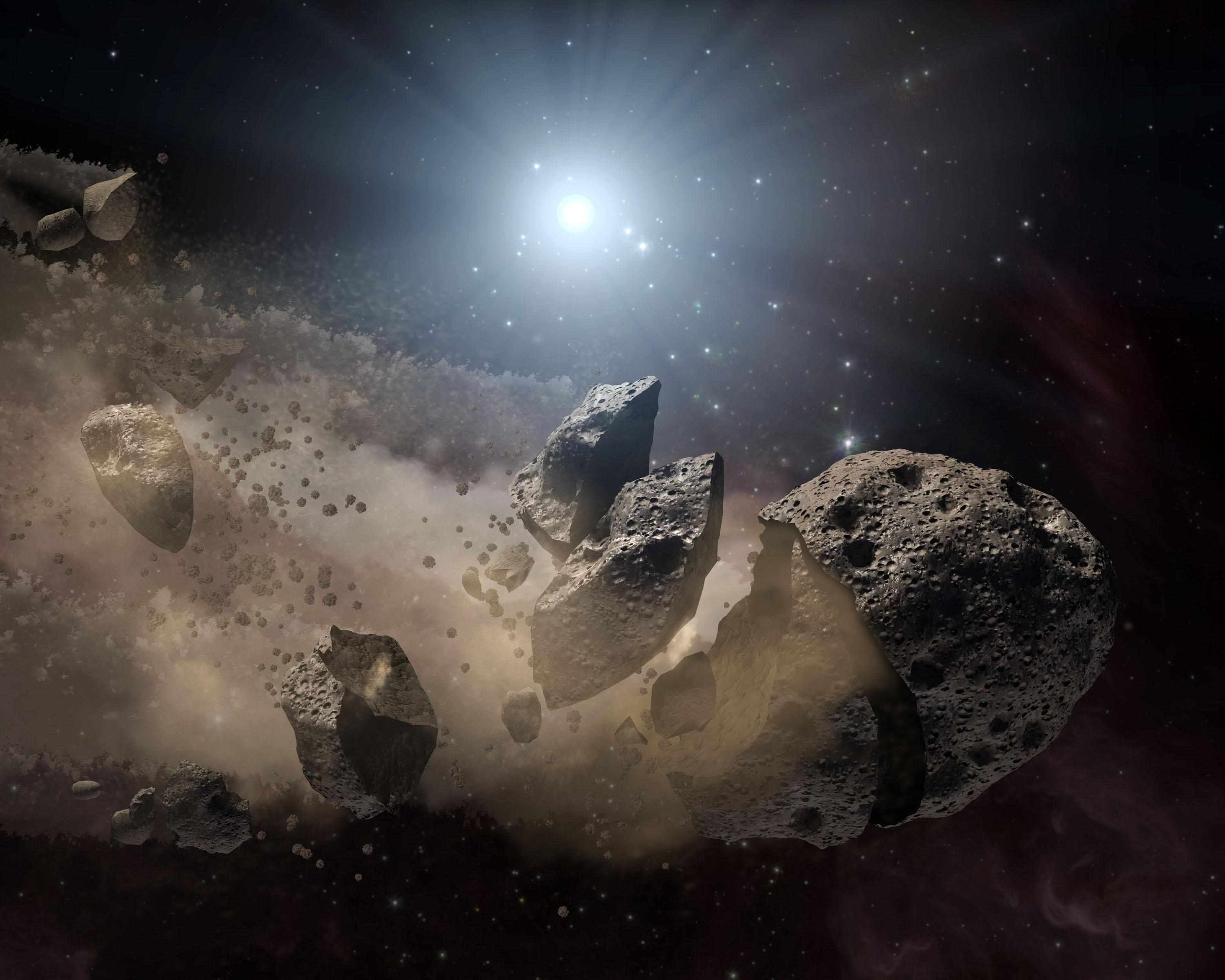 An artist's impression of an asteroid breaking up.