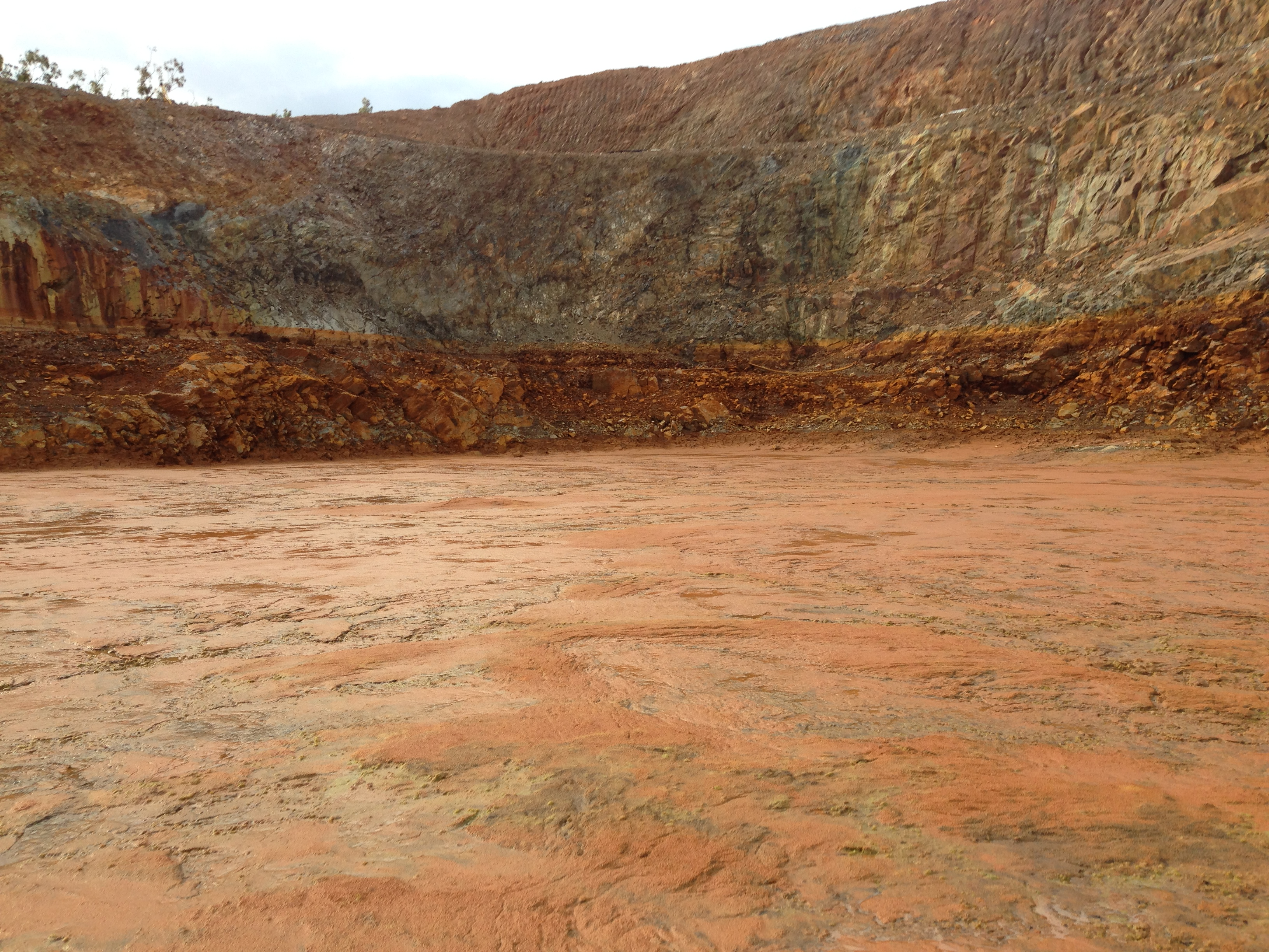 A mine pit following the release of the treated water.