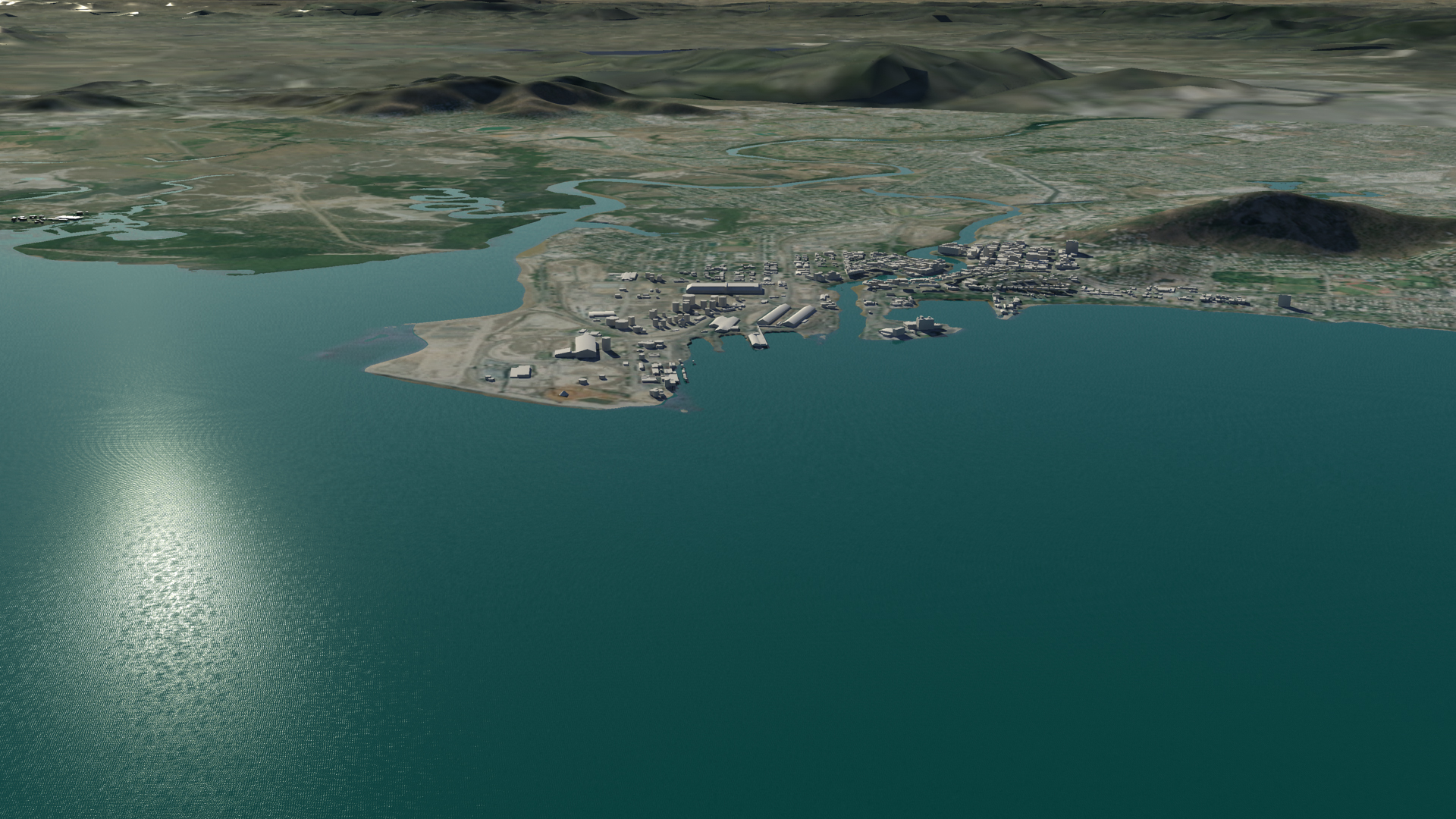 Townsville before inundation from storm surge combined with sea level rise