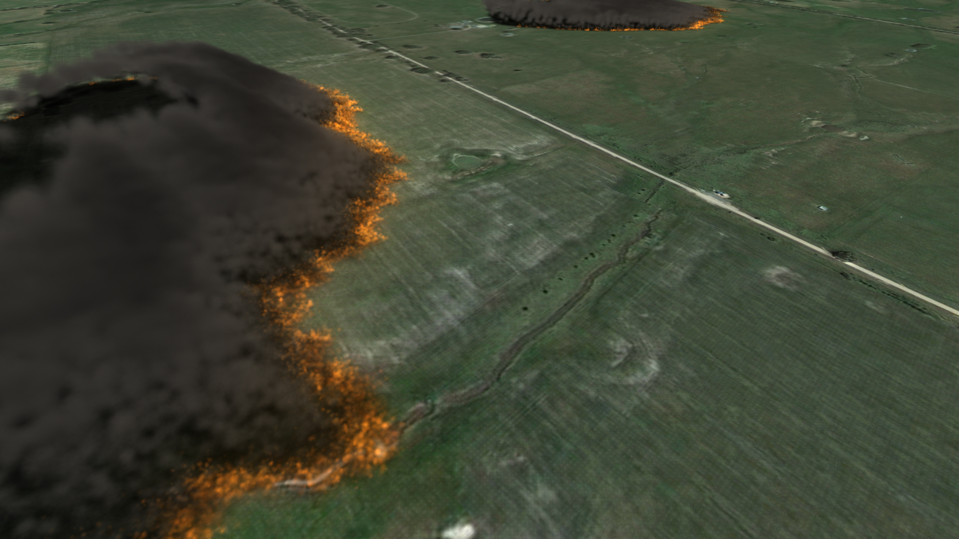 Visualisation of a bushfire spread simulation using SPARK software developed using the Workspace workflow engine