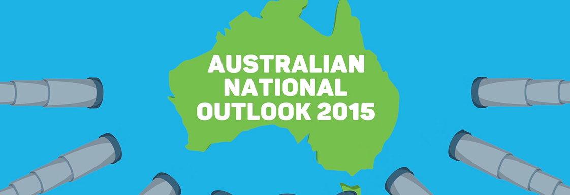 Australia map in green with words 'Australian National Outlook' overlaid in white text.