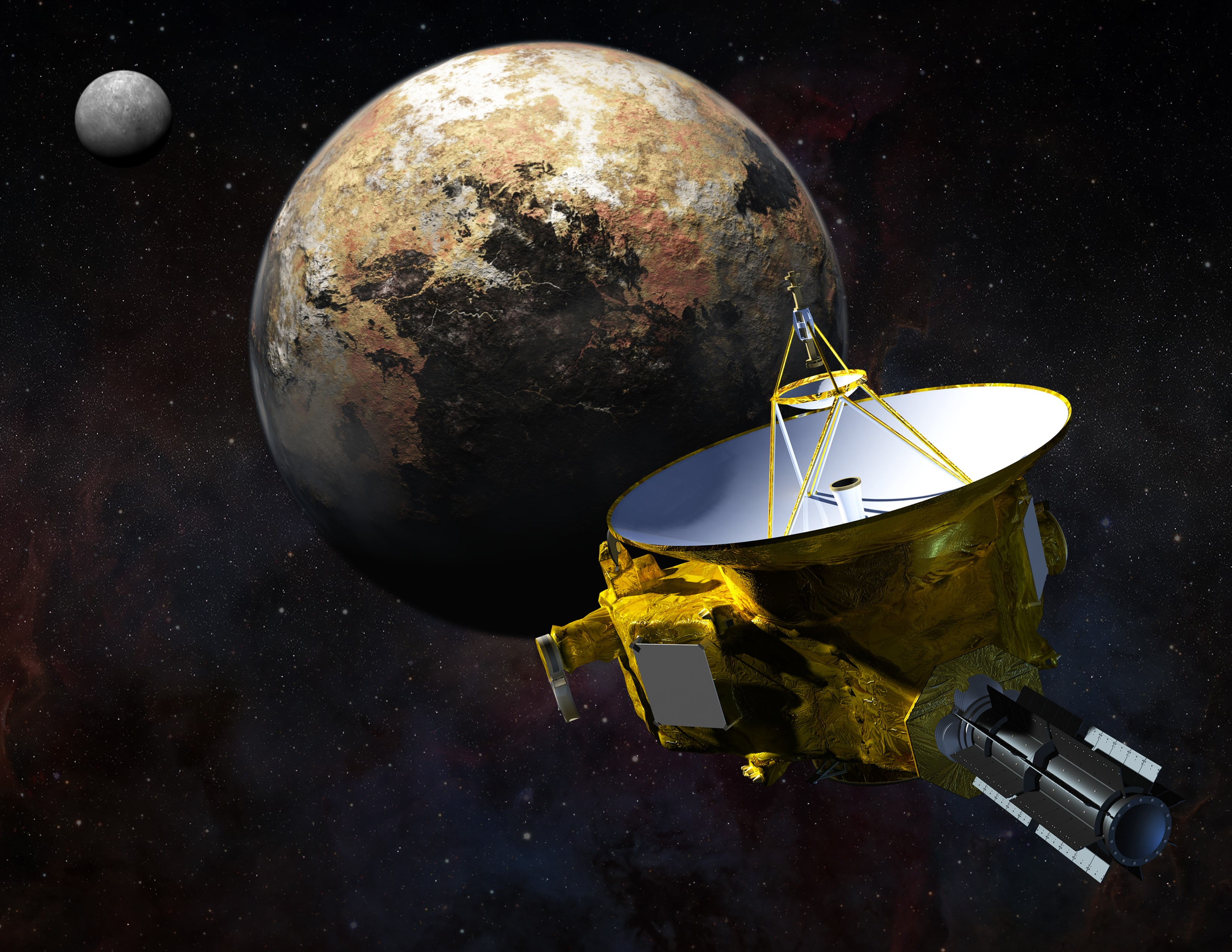 New Horizons spacecraft approaches Pluto and its largest moon, Charon