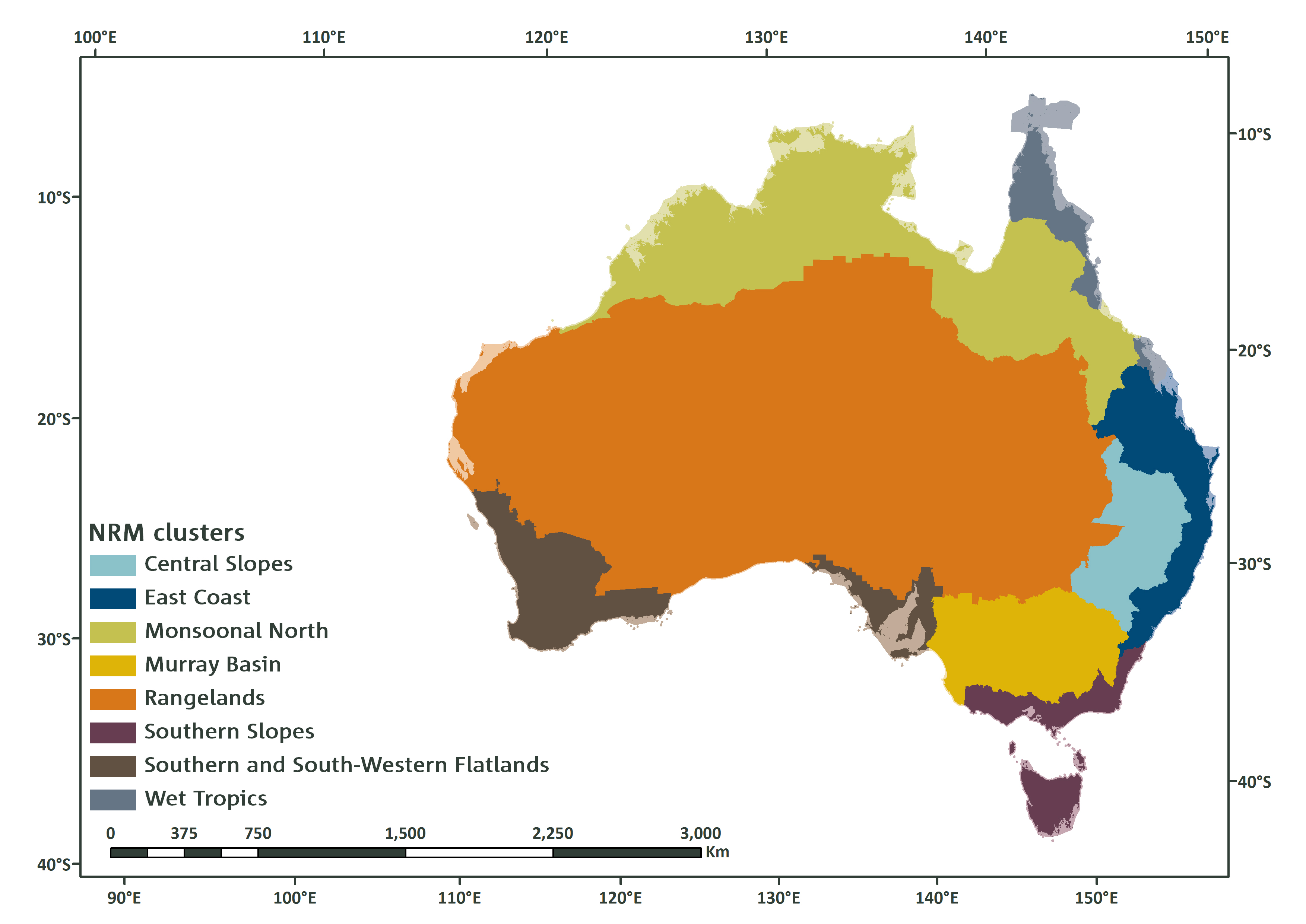 Map of Australia overlaid with blocks of colour which indicate natural resource management clusters.