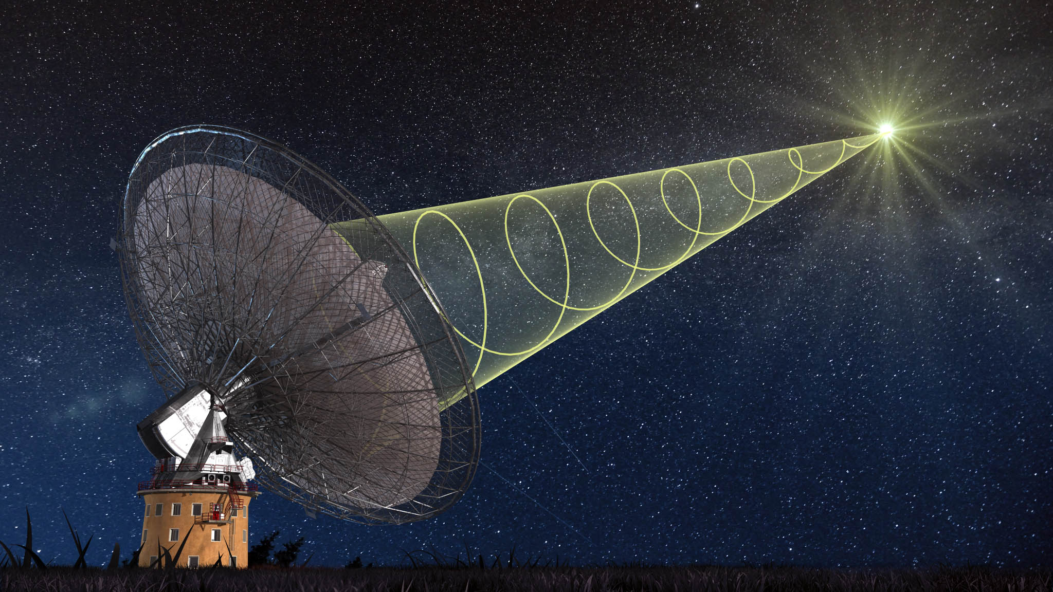 A schematic illustration of CSIRO's Parkes radio telescope receiving the polarised signal from the new 'fast radio burst'.