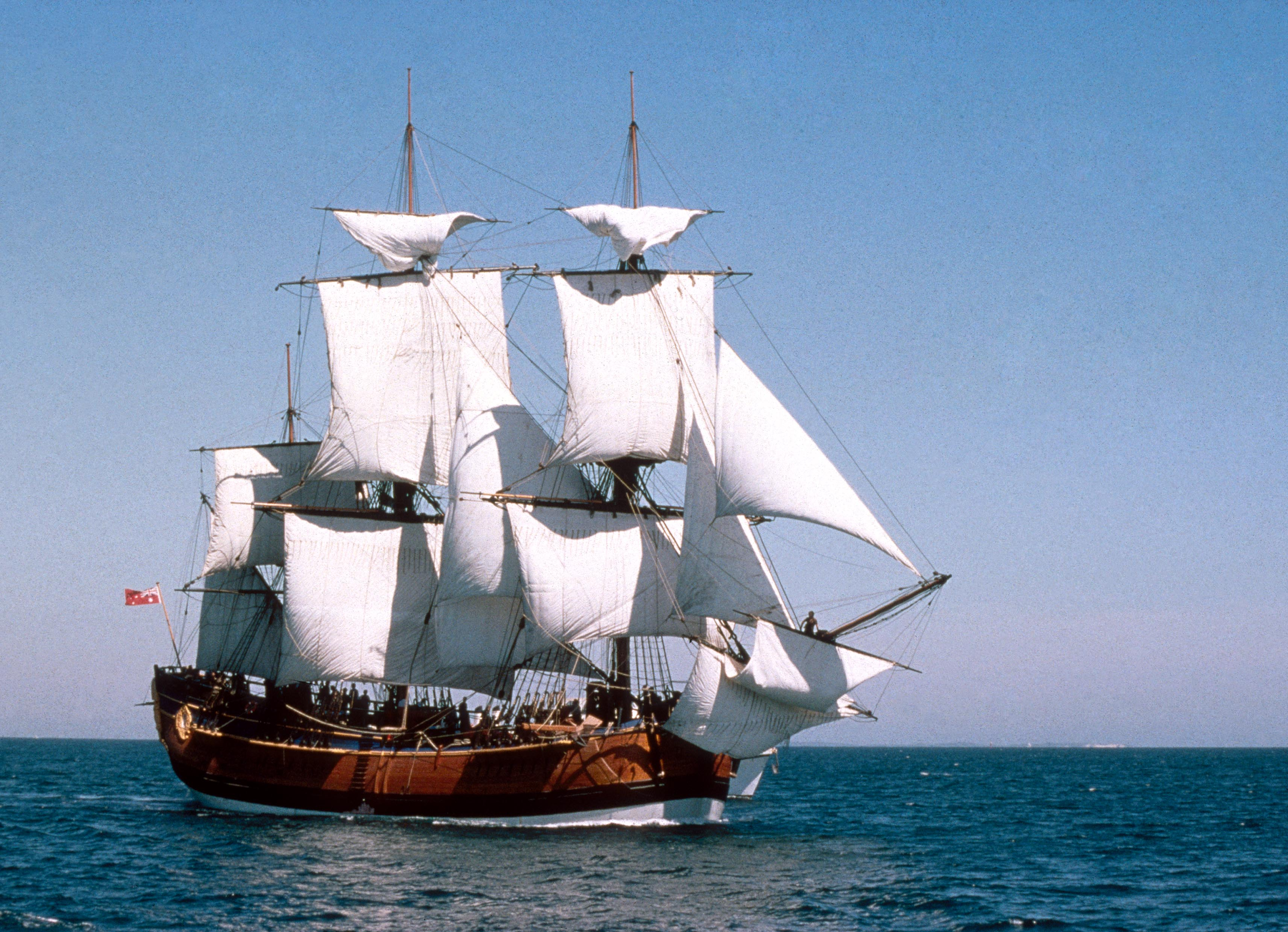 The HMB Endeavour replica at sea