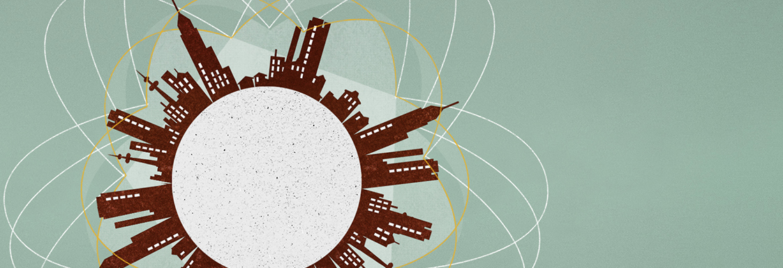 Global megatrends graphic with stylised cityscape wrapping around a circle.