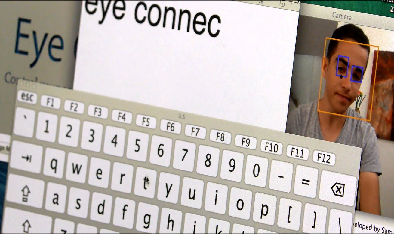 Screen shot of Eye Connect program showing on-screen keyboard and a persons face in the background with the software recognition elements around face and eyes.