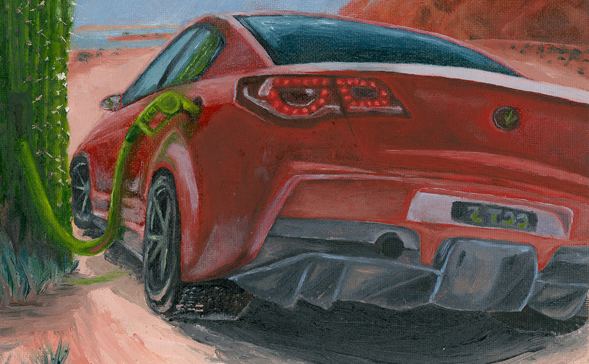 Illustration of red sedan being fuelled from a cactus plant in a desert landscape